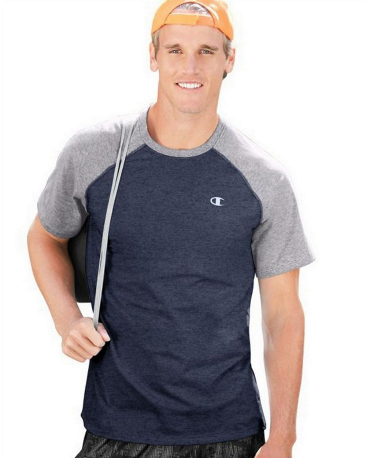 Champion T8822 Vapor Mens Tee - Champ Navy Heather/Oxford Grey - XXL T8822