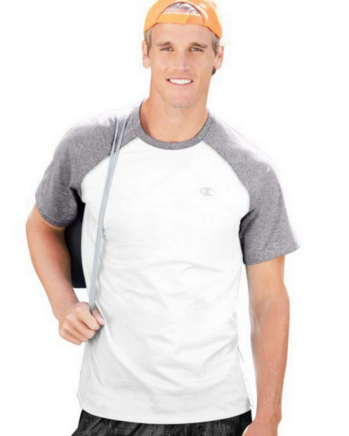 Champion T8822 Vapor Mens Tee - White/Oxford Grey - M T8822