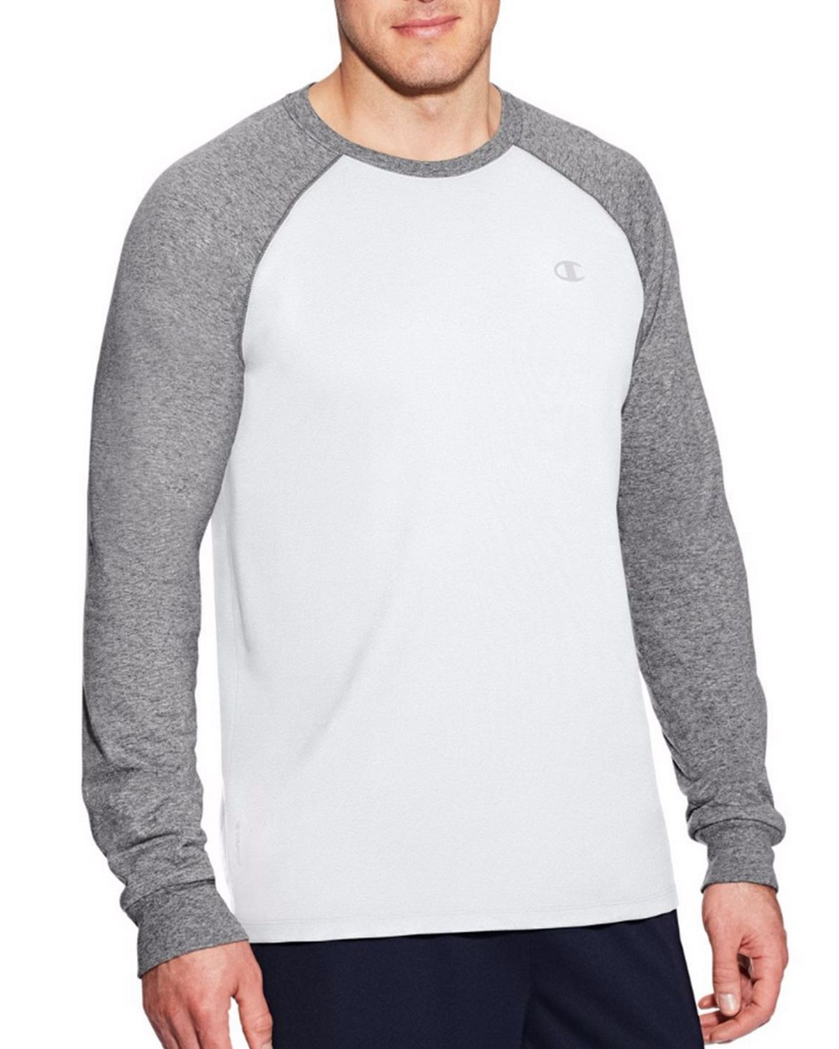 Champion T9937 Vapor Mens Cotton Tee - White/Oxford Grey - L T9937