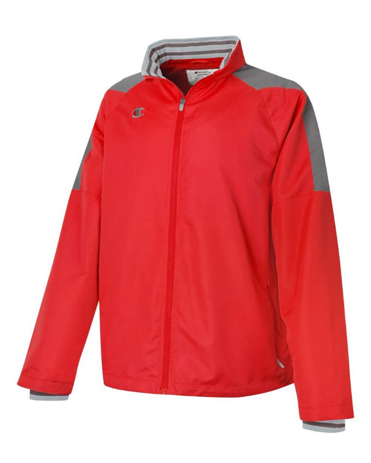 Champion V070 Mens Full Zip Jacket - Scarlet/Dark Platinum Gray - XL V070