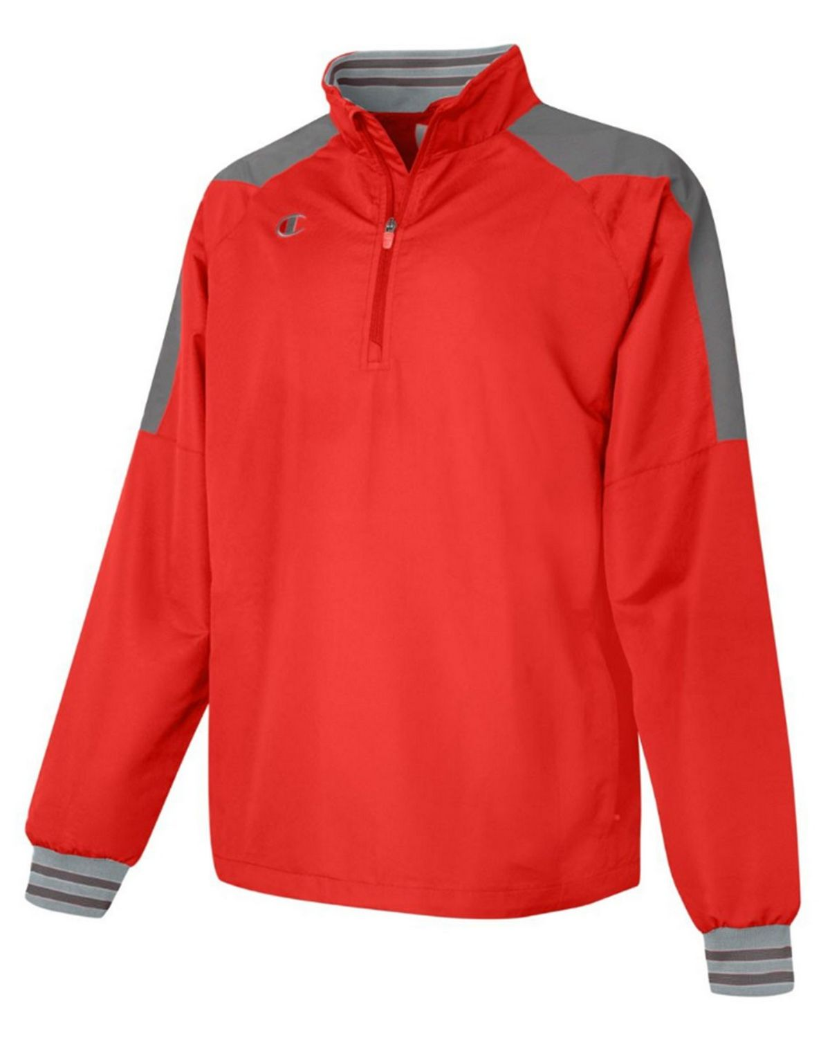 Champion V072 Mens 1/2 Zip Jacket - Scarlet/Dark Platinum Gray - XL V072