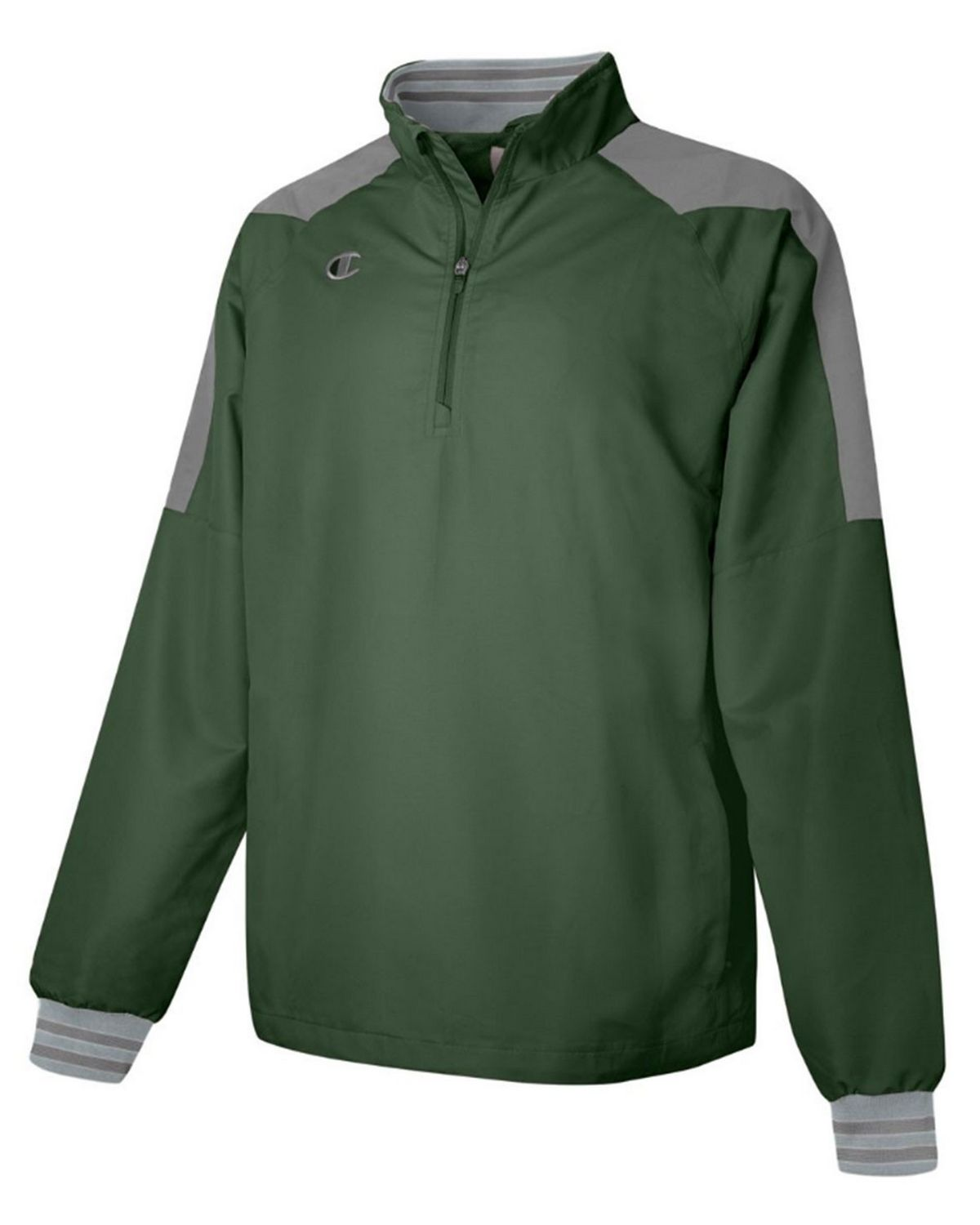 Champion V072 Mens 1/2 Zip Jacket - Team Dark Green/Dark Platinum Gray - XL V072
