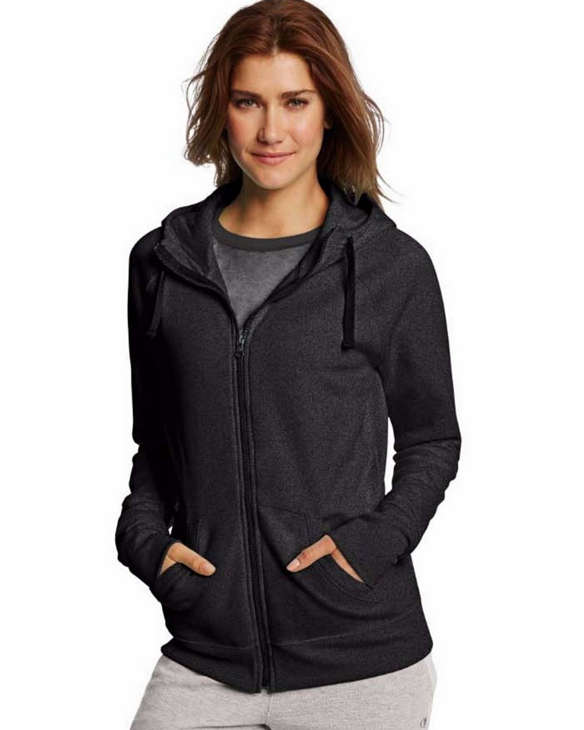 Champion W0933 Womens Fleece Full Zip Hoodie - Black - XL W0933