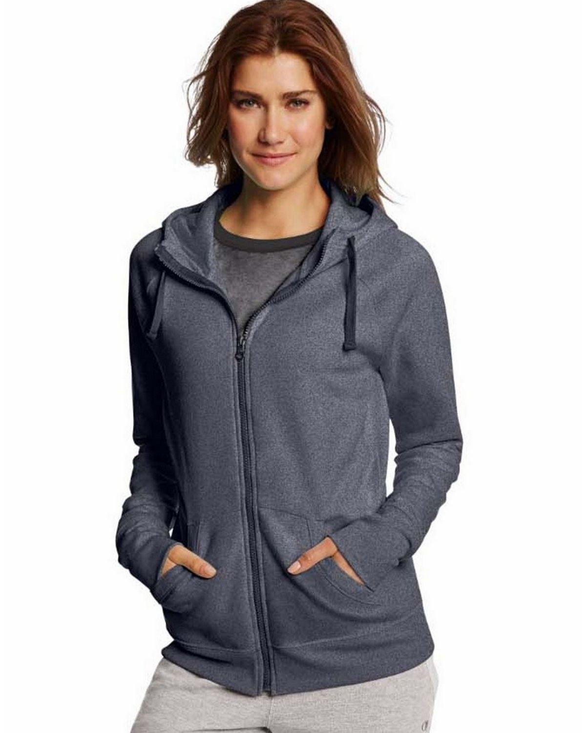 Champion W0933 Womens Fleece Full Zip Hoodie - Granite Heather - M W0933