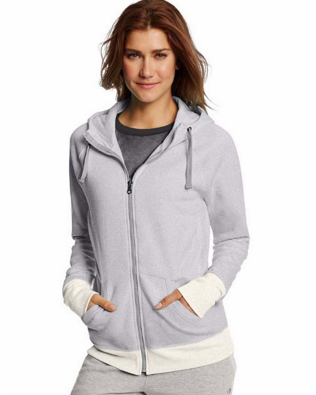 Champion W0933 Womens Fleece Full Zip Hoodie - Oxford Heather/Oatmeal Heather - XL W0933