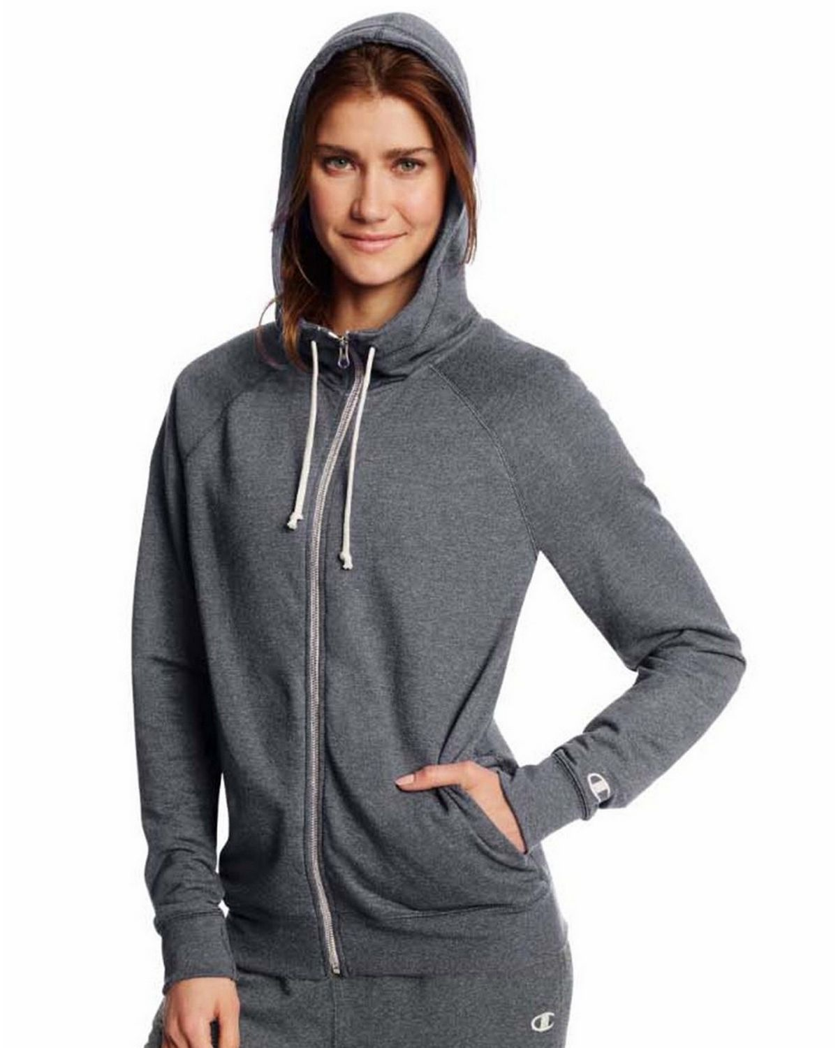 Champion W0941 Womens Full Zip Hoodie - Granite Heather - L W0941