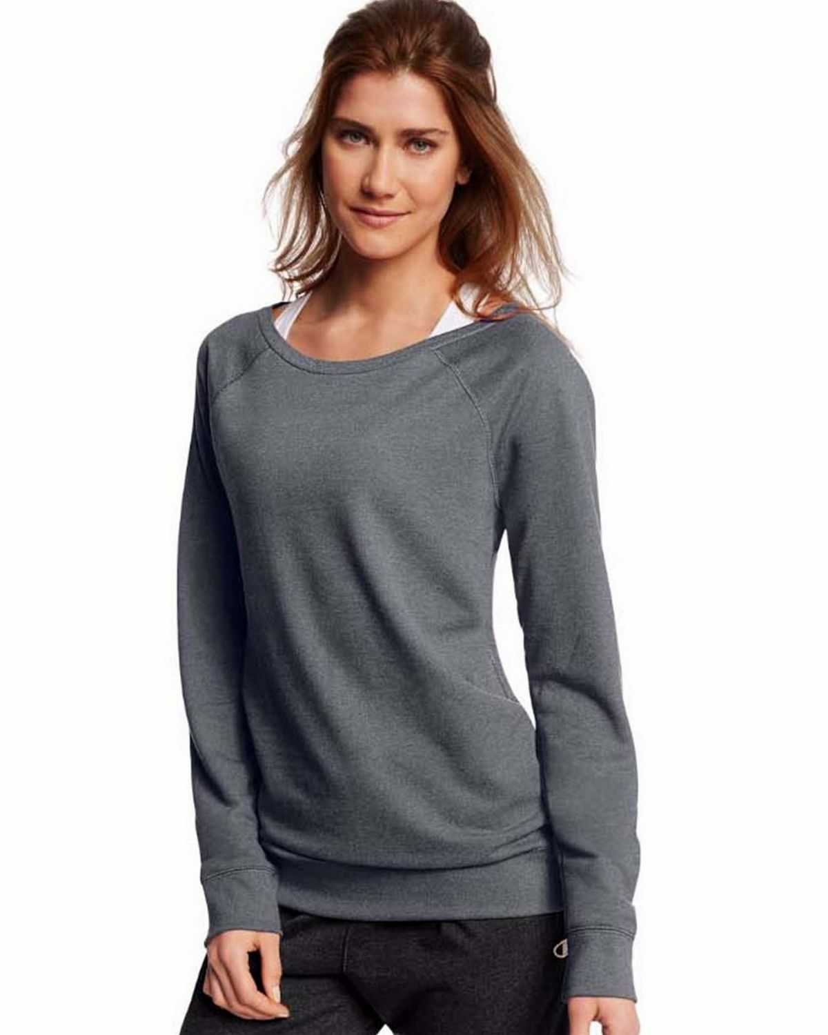 Champion W0943 French Terry Top - Granite Heather - L W0943