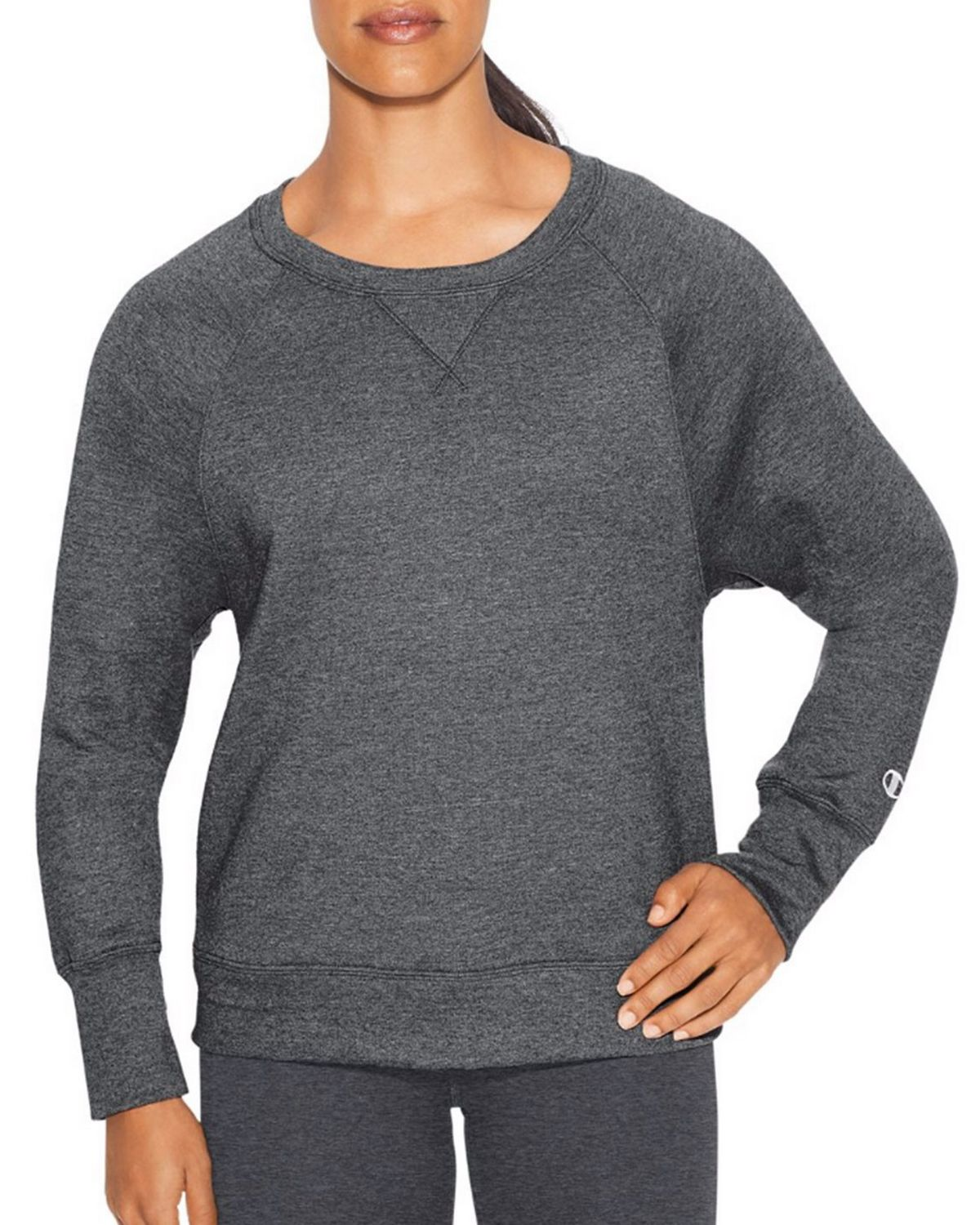 Champion W29567 Womens Boyfriend Crew - Granite Heather - XL W29567