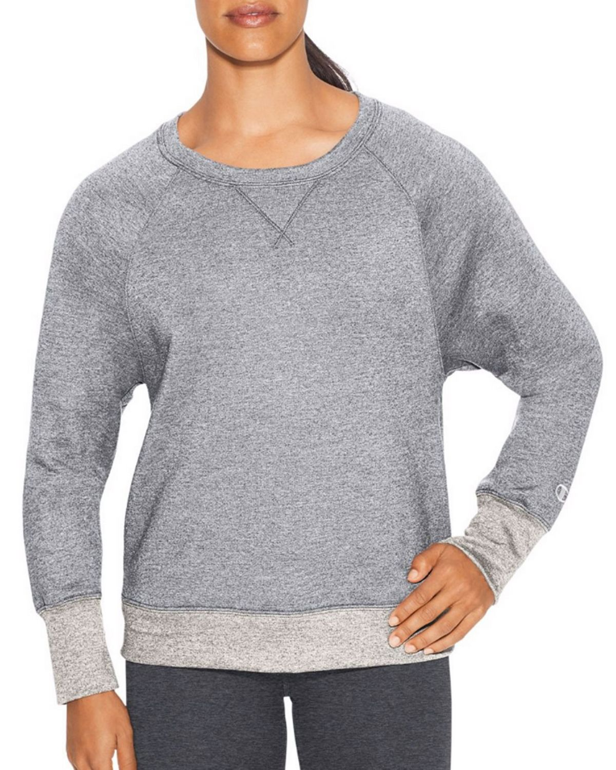 Champion W29567 Womens Boyfriend Crew - Oxford Grey Heather/Oatmeal Heather - L W29567