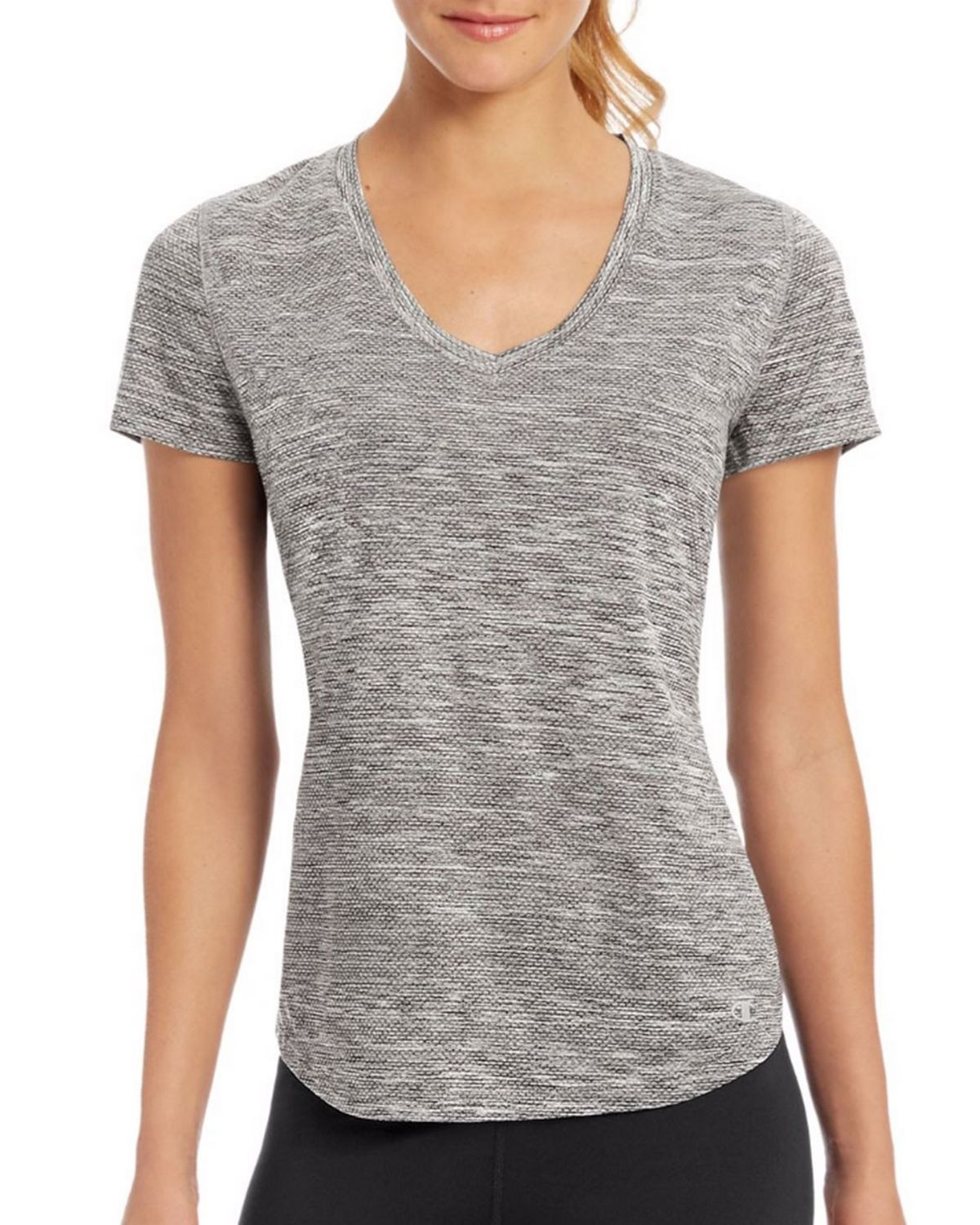 Champion W30413 Womens Stripe Tee - Granite Heather - L W30413