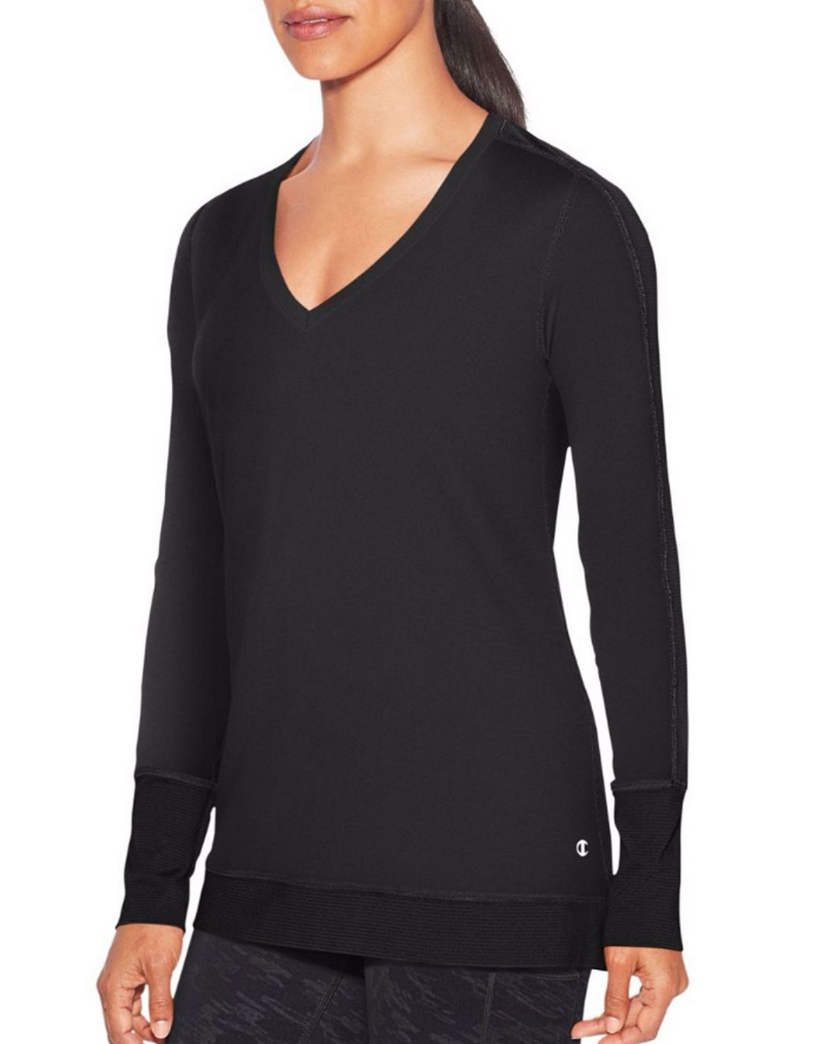 Champion W9914 Womens Long Sleeve Tee - Black - XS W9914