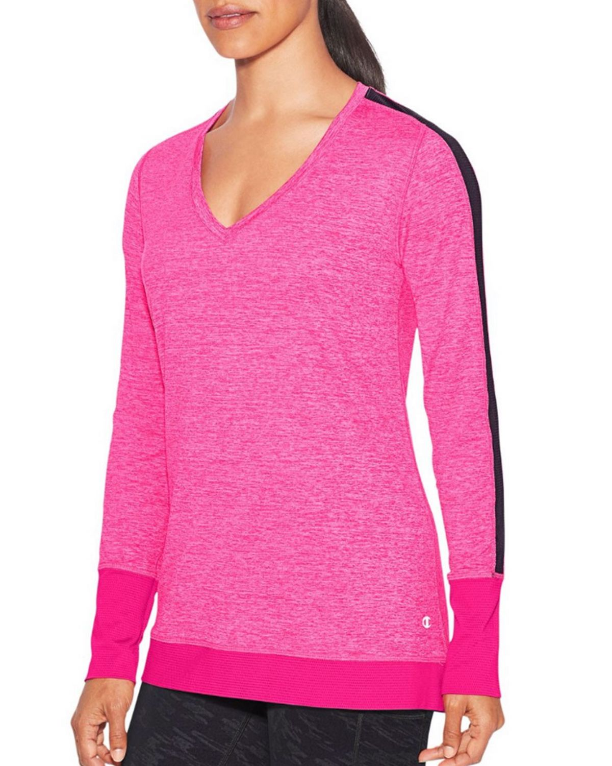 Champion W9914 Womens Long Sleeve Tee - Pop Art Pink Heather - M W9914