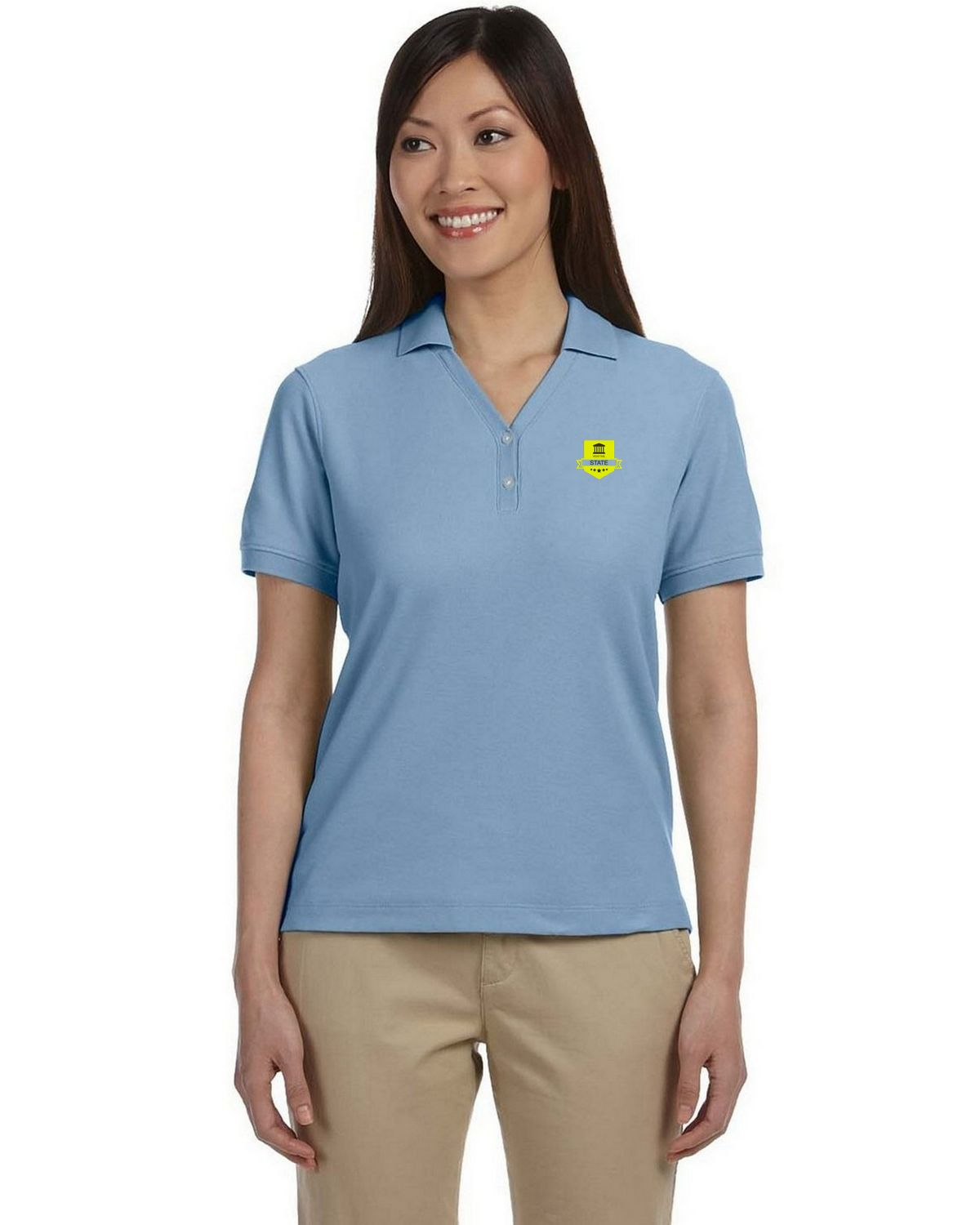 ... LIGHT BLUE Devon /& Jones Ladies Pima Piqu Short-Sleeve Polo
