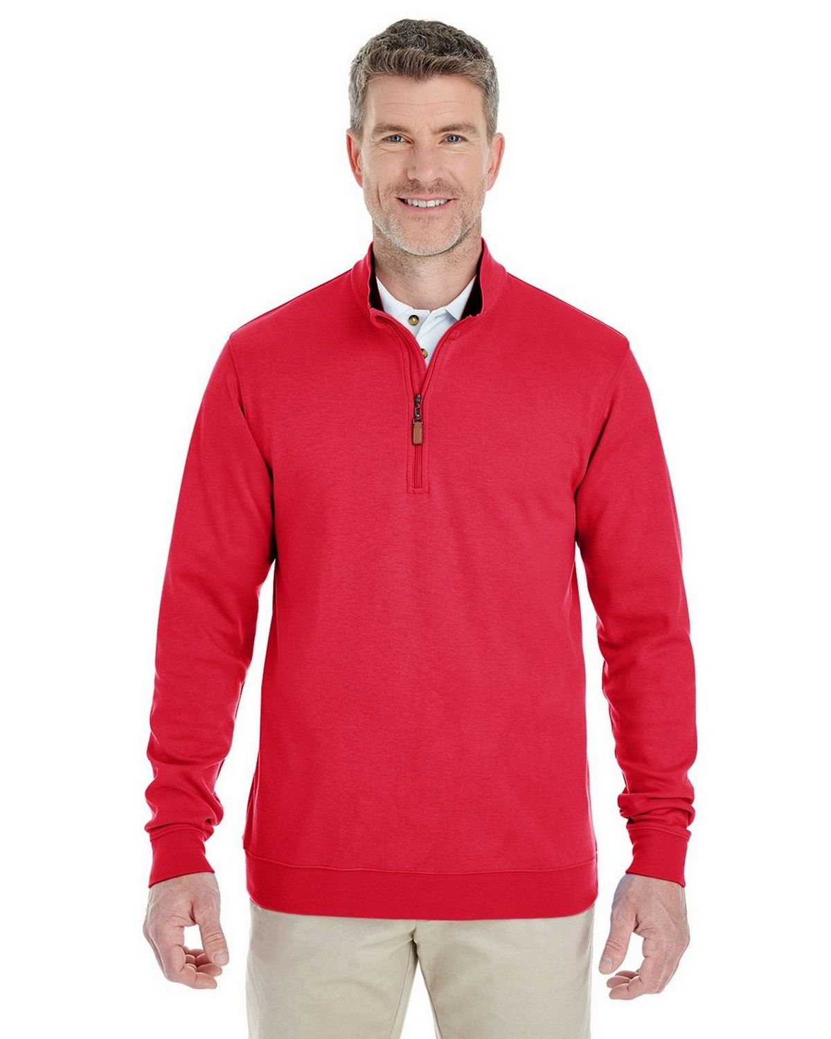 Devon & Jones DG479 Mens Performance Quarter-Zip - Red/ Navy/ Red - L DG479