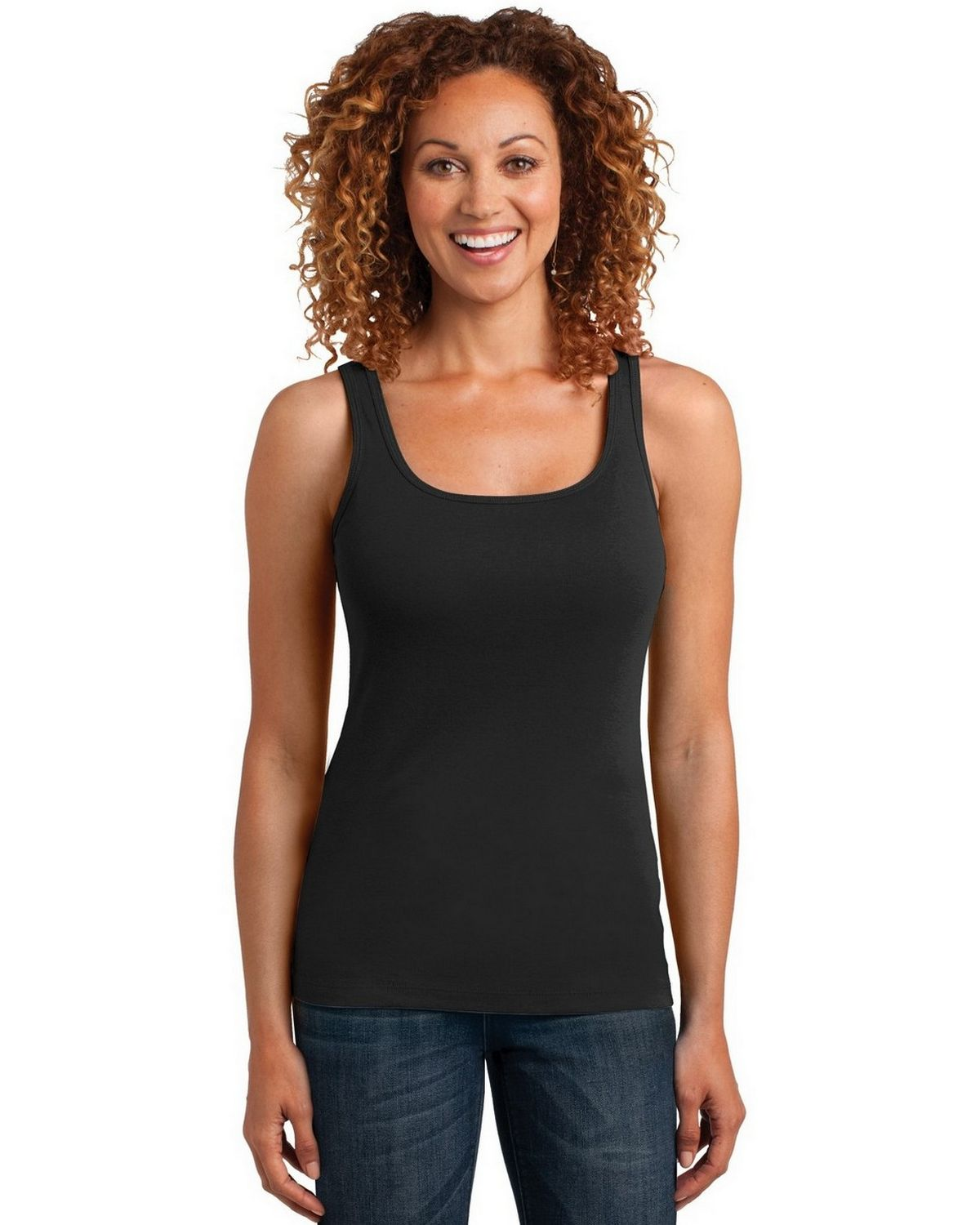 District Made DM403 Mini Rib Racerback Tank - Black - L DM403