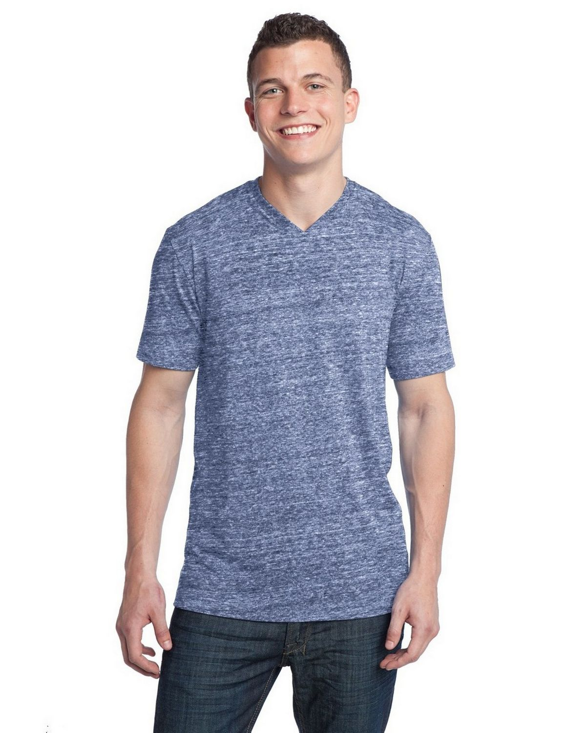 District DT142V Tri-Blend V-Neck Tee - Navy Heather - XS DT142V