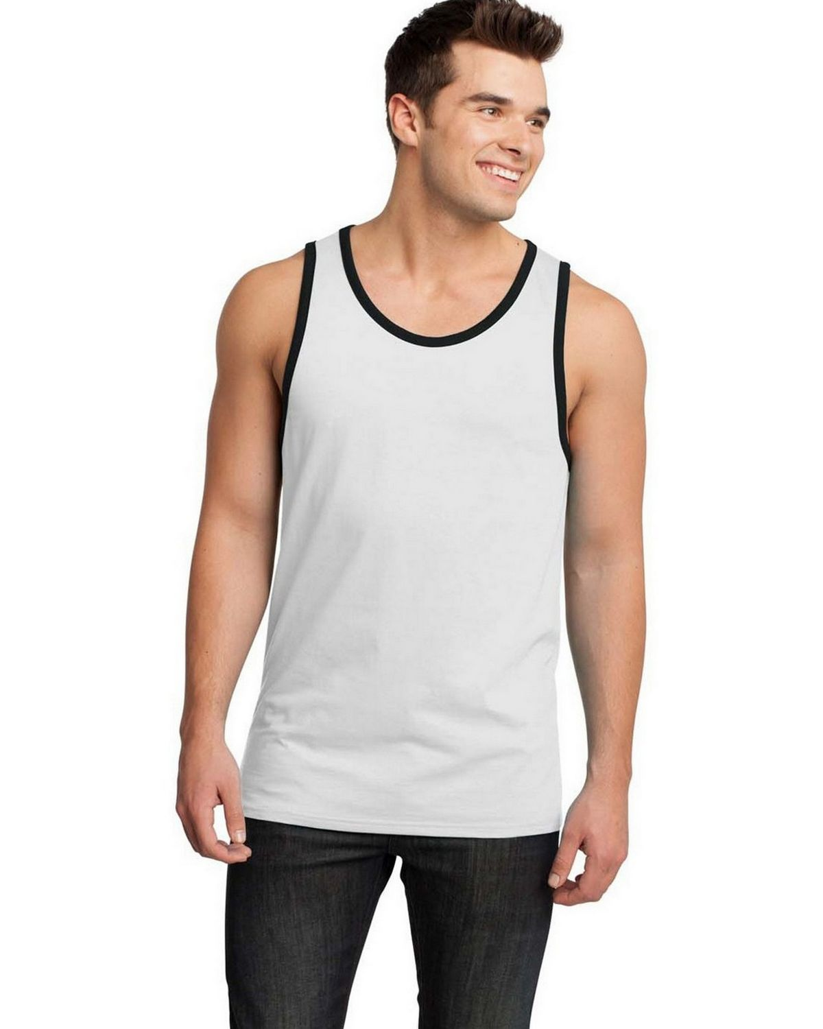 District DT1500 Mens Cotton Ringer Tank - New Navy/ Heathered Steel - M DT1500