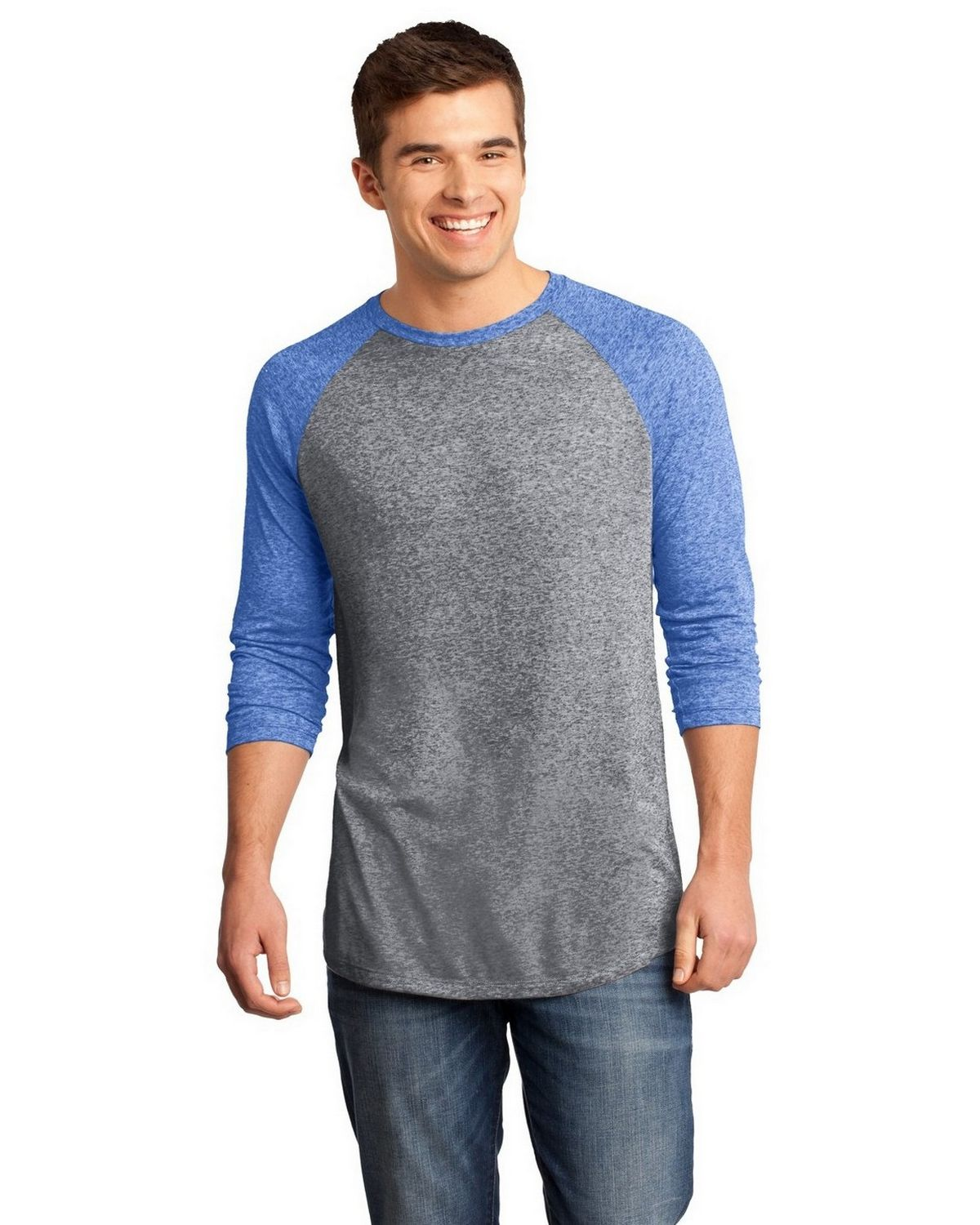 District DT162 Young Mens Microburn Raglan Tee - Deep Royal/ Heathered Nickel - XL DT162