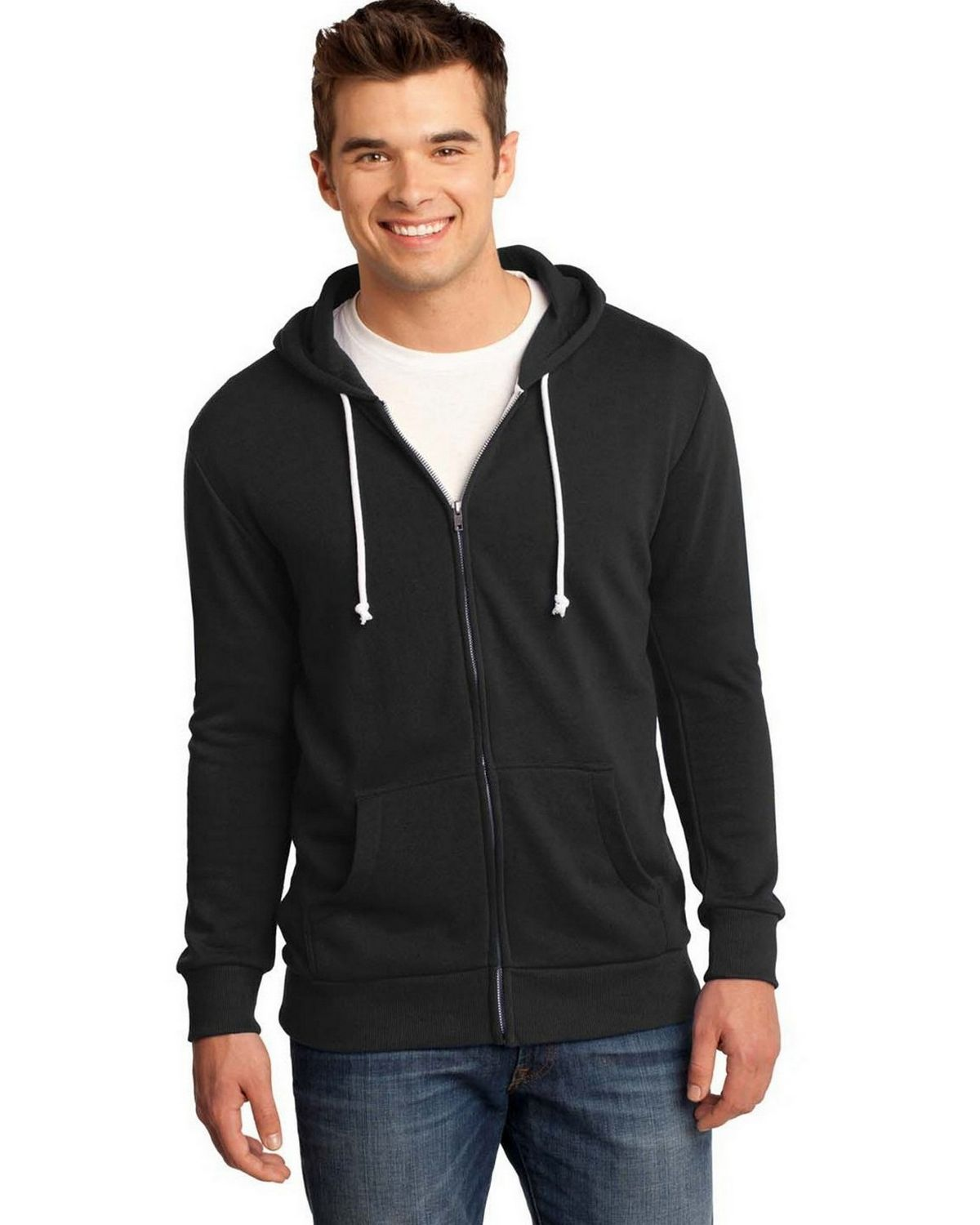 District DT190 Core Fleece Full Zip Hoodie - Black - L DT190