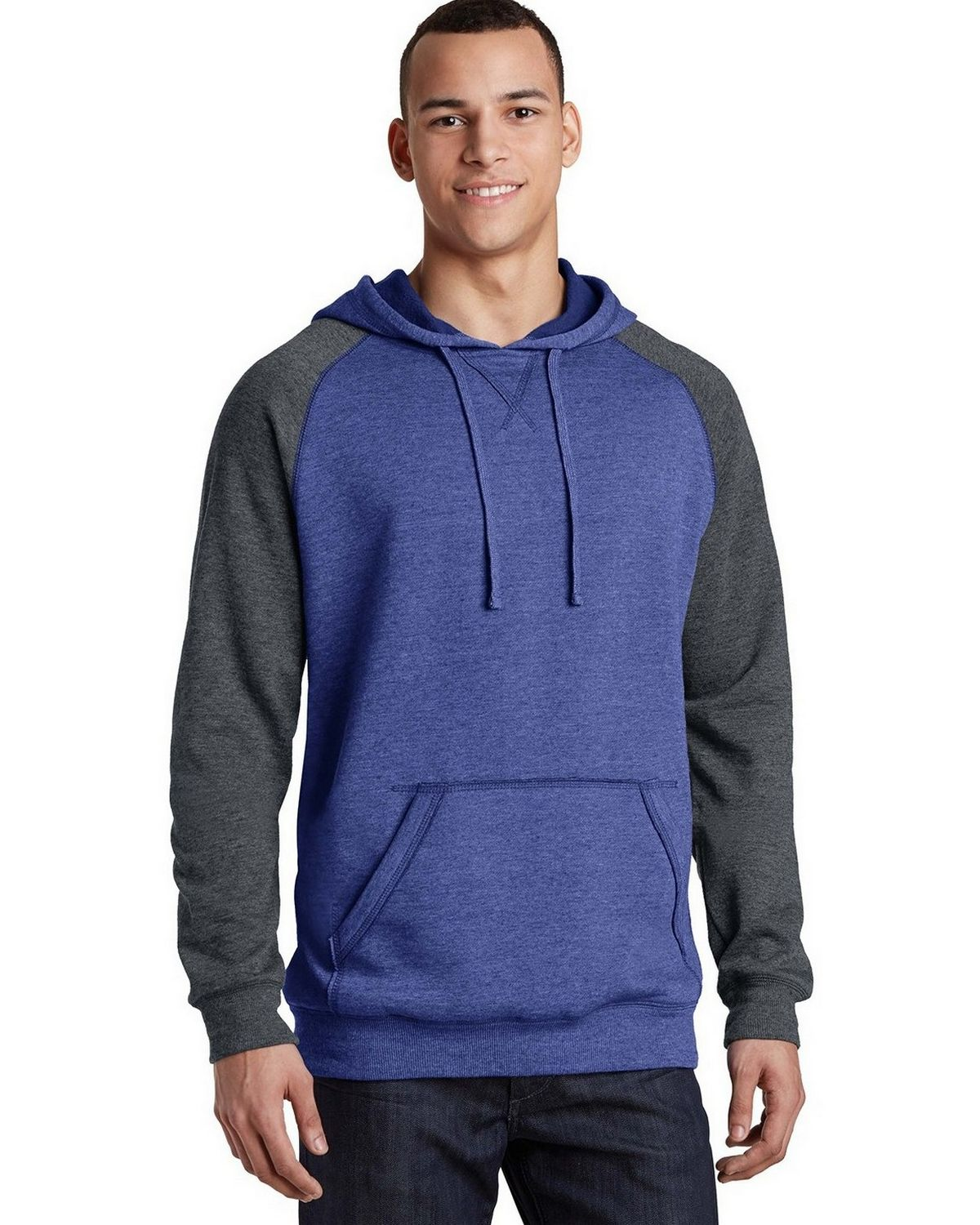 District DT196 Young Mens Fleece Raglan Hoodie - Heathered Red/ Heathered Charcoal - XL DT196