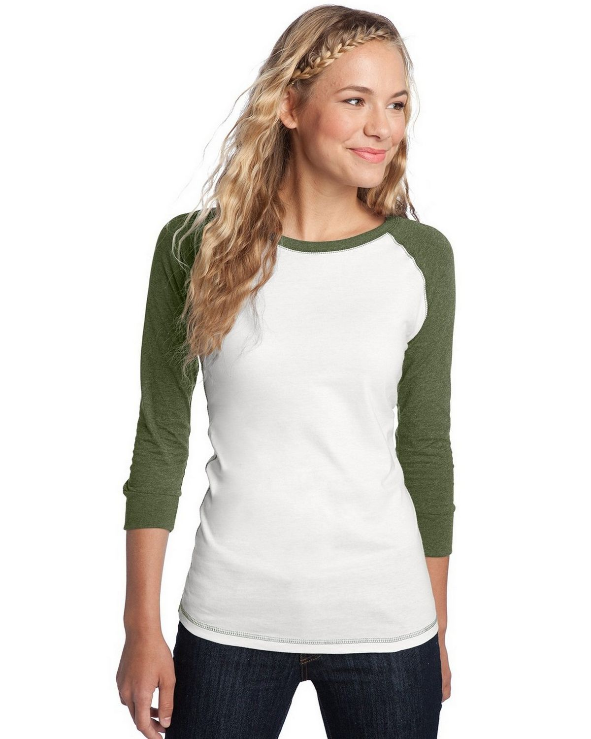 District DT226 Juniors Perfect Weight Raglan Tee - White/Heathered Mocha Brown - XS DT226
