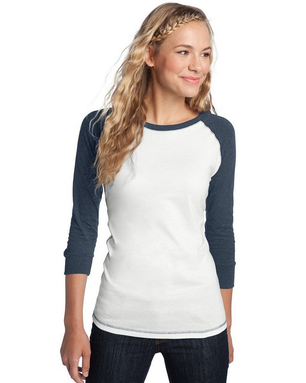 District DT226 Juniors Perfect Weight Raglan Tee - White/Heathered Dark Navy - XS DT226