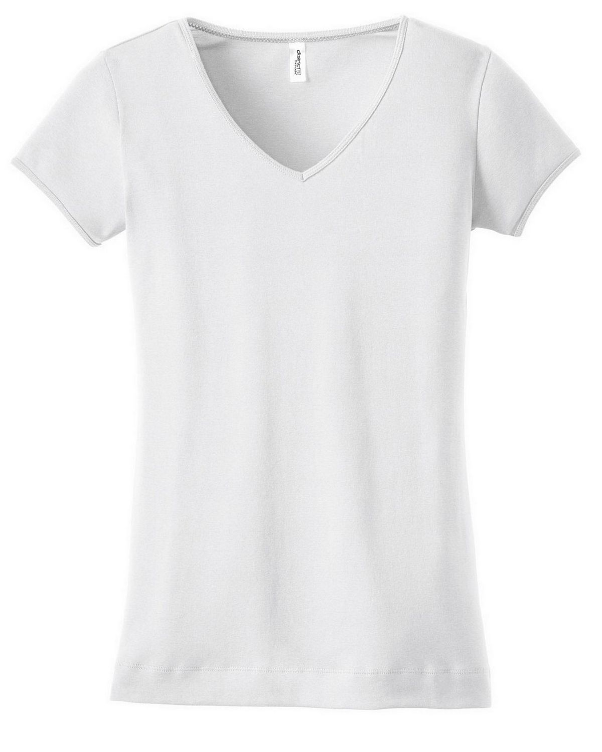District DT234V Juniors Rib V-Neck Tee - Bright White - M DT234V