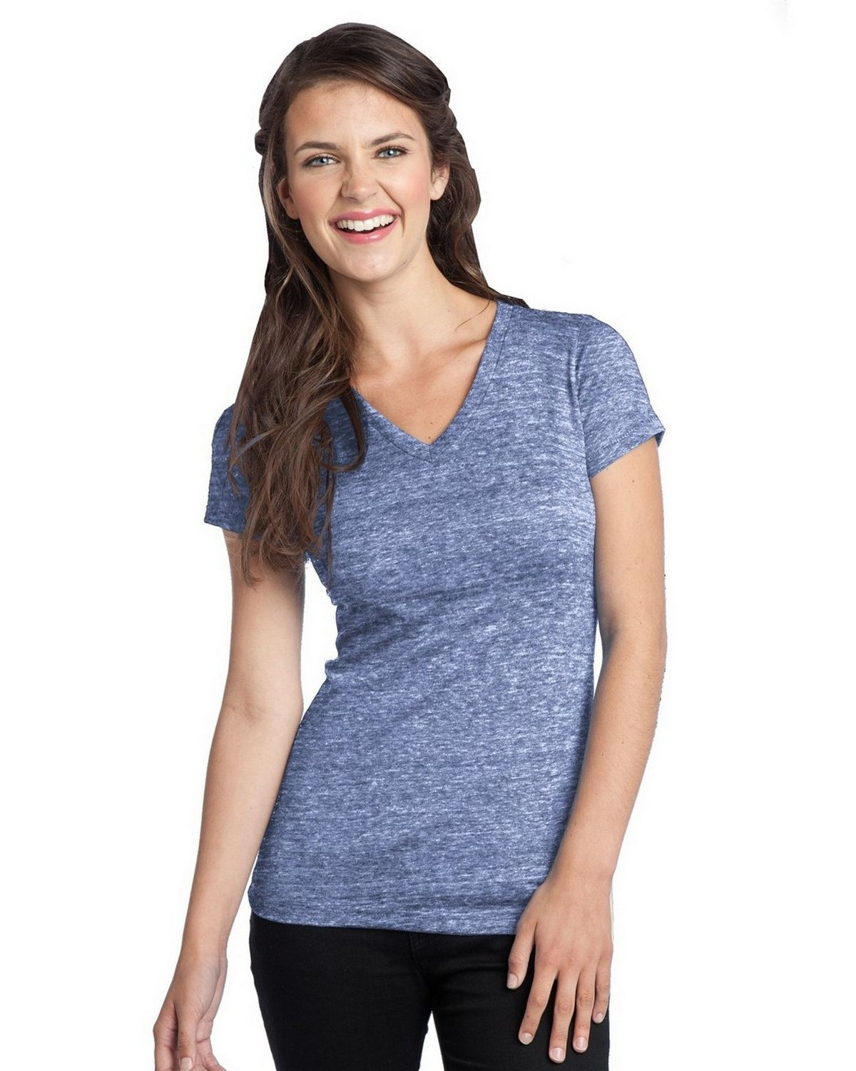 District DT242V Tri-Blend V-Neck Tee - Navy Heather - XXL DT242V