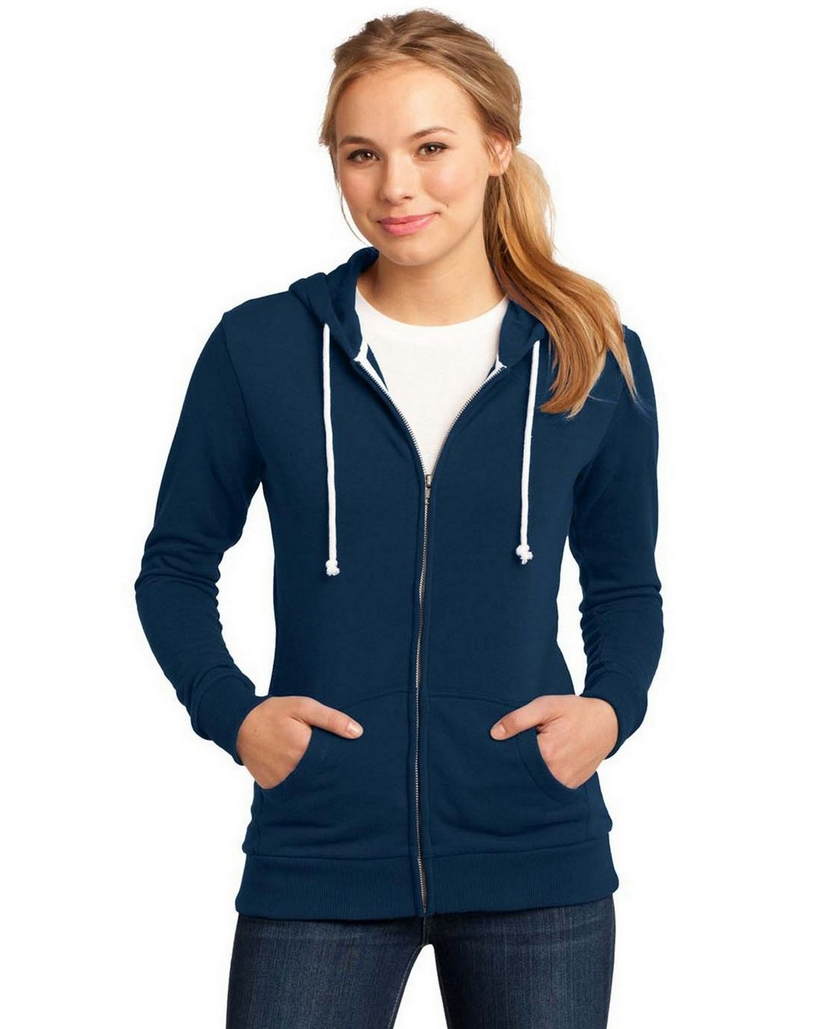 District DT290 Core Fleece Full-Zip Hoodie - New Navy - XXL DT290