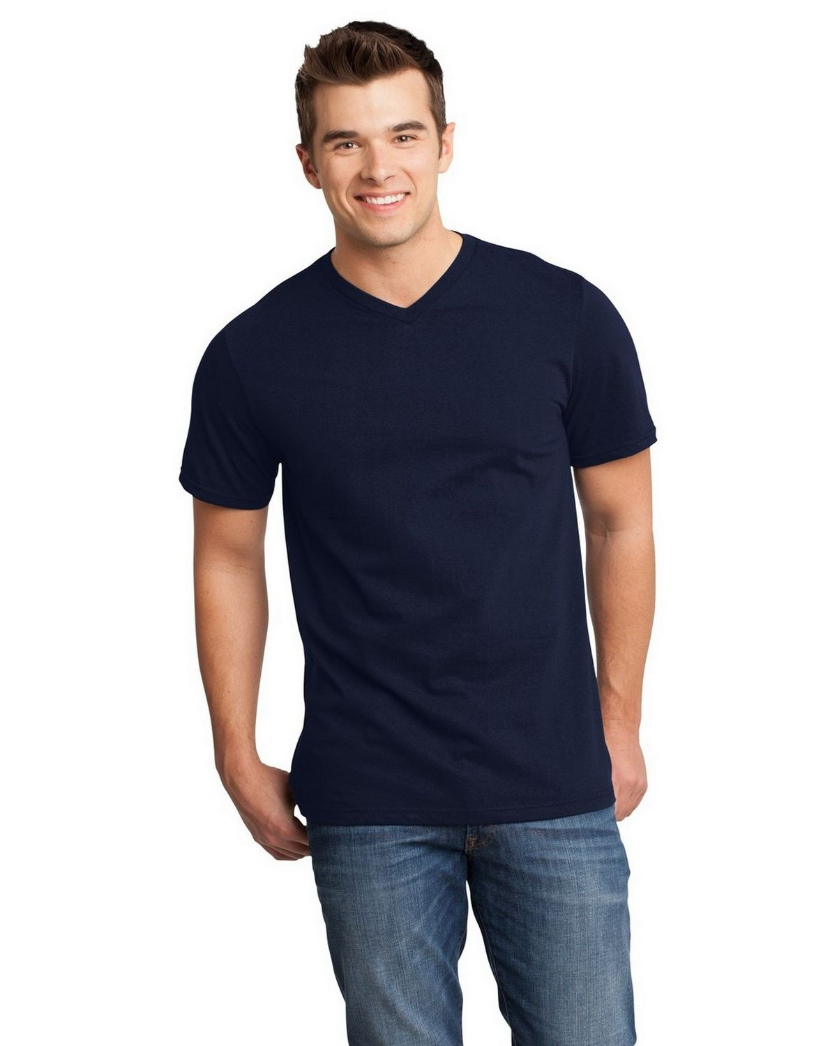 District DT6500 Very Important V-Neck Tee - Heathered Navy - XS DT6500