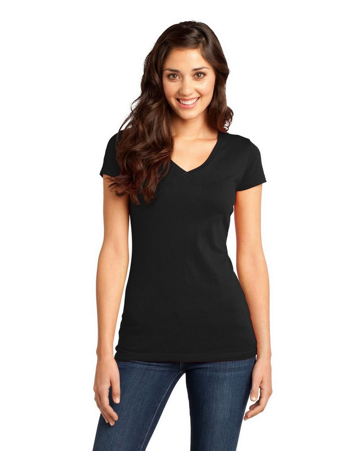 District DT6501 Juniors Very Important V-Neck Tee - Black - M DT6501