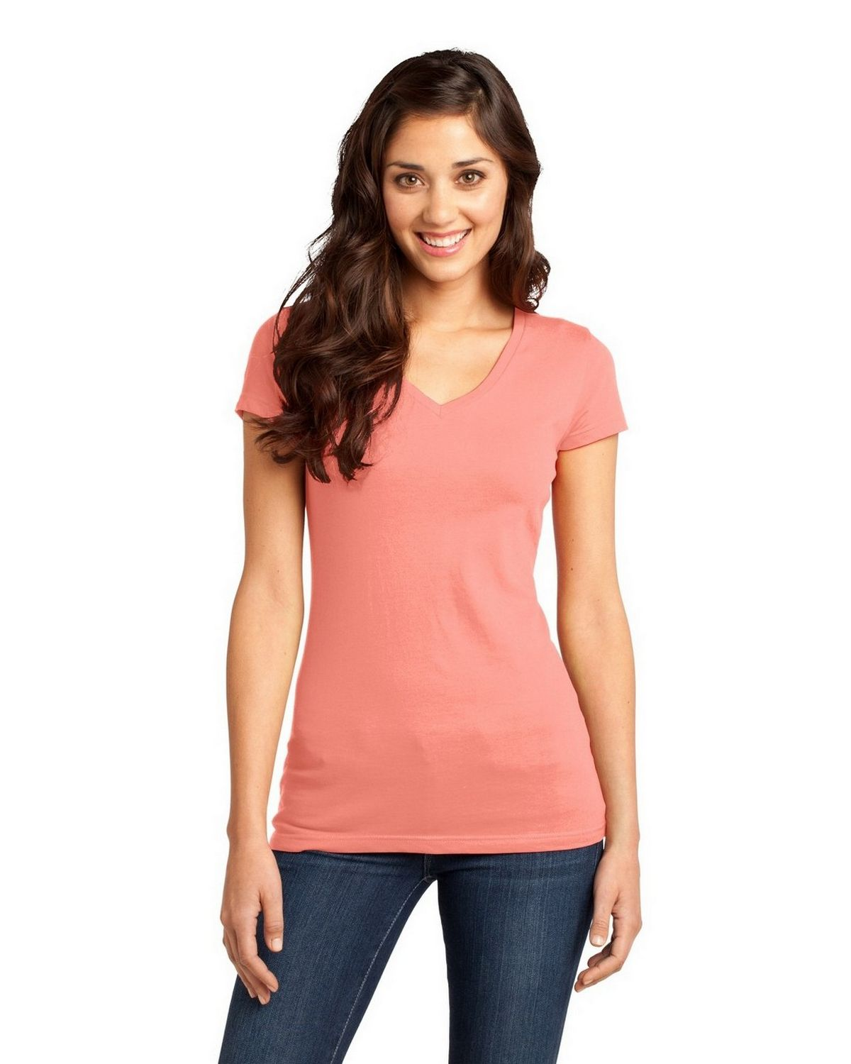 District DT6501 Very Important V-Neck Tee - Peach - XXL DT6501