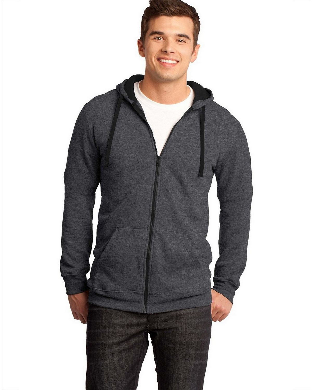 District DT800 Young Mens The Concert Fleece Hoodie - Heathered Charcoal - XL DT800