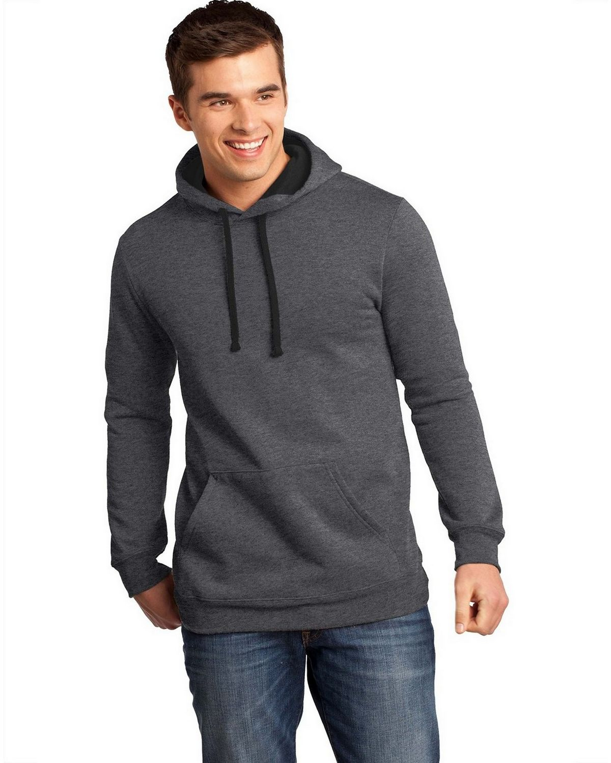 District DT810 Mens The Concert Fleece Hoodie - Heathered Charcoal - XS DT810