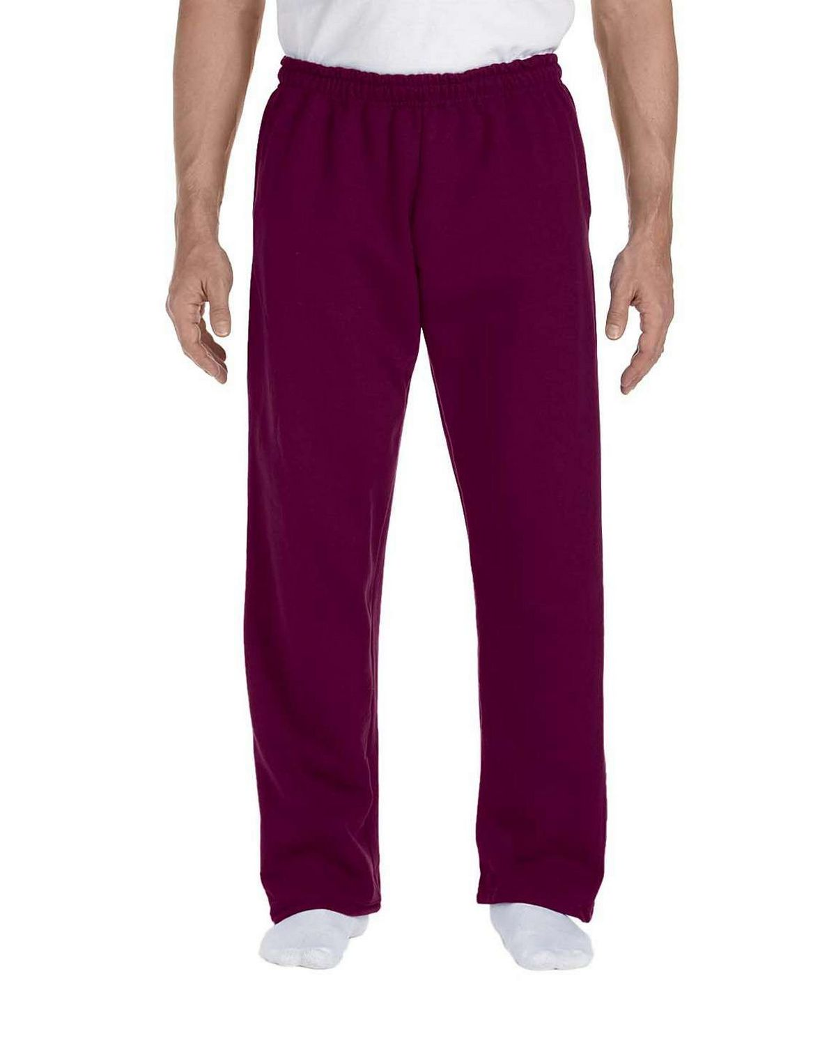 Gildan 12300 Open Bottom Sweatpants - Maroon - L 12300