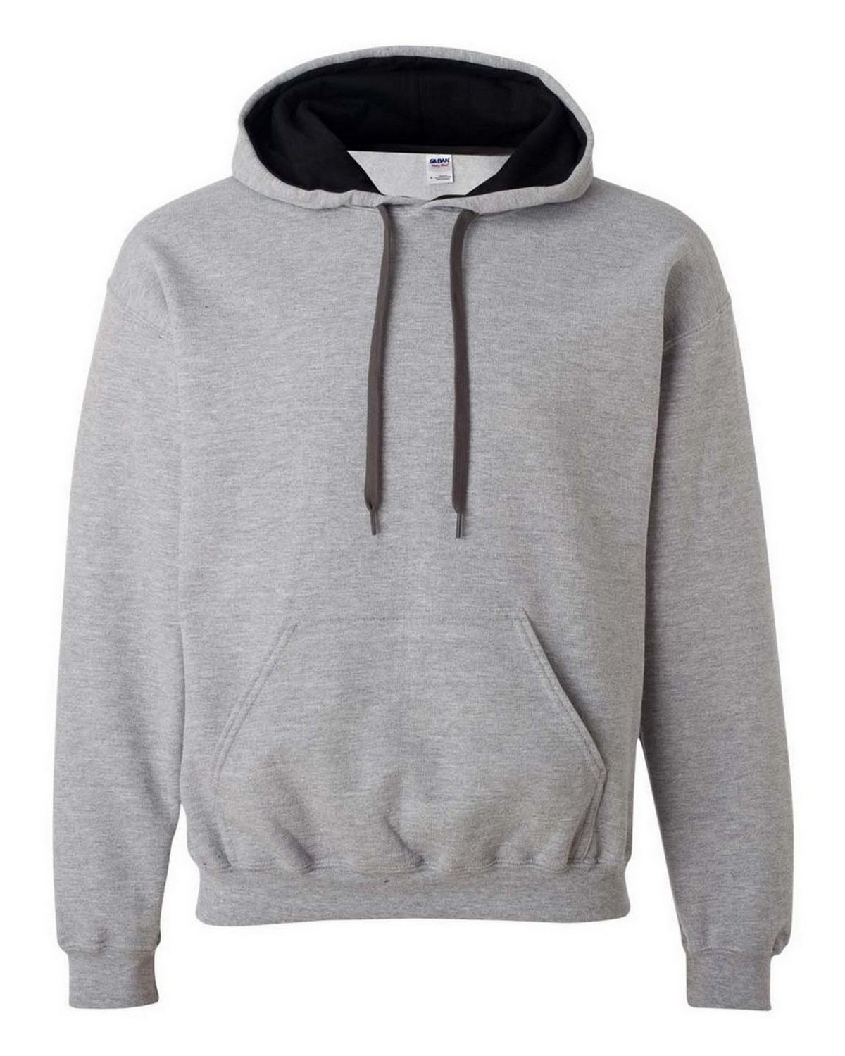 Gildan 185C00 Heavy Blend Hooded Sweatshirt - Black/Sport Grey - L 185C00