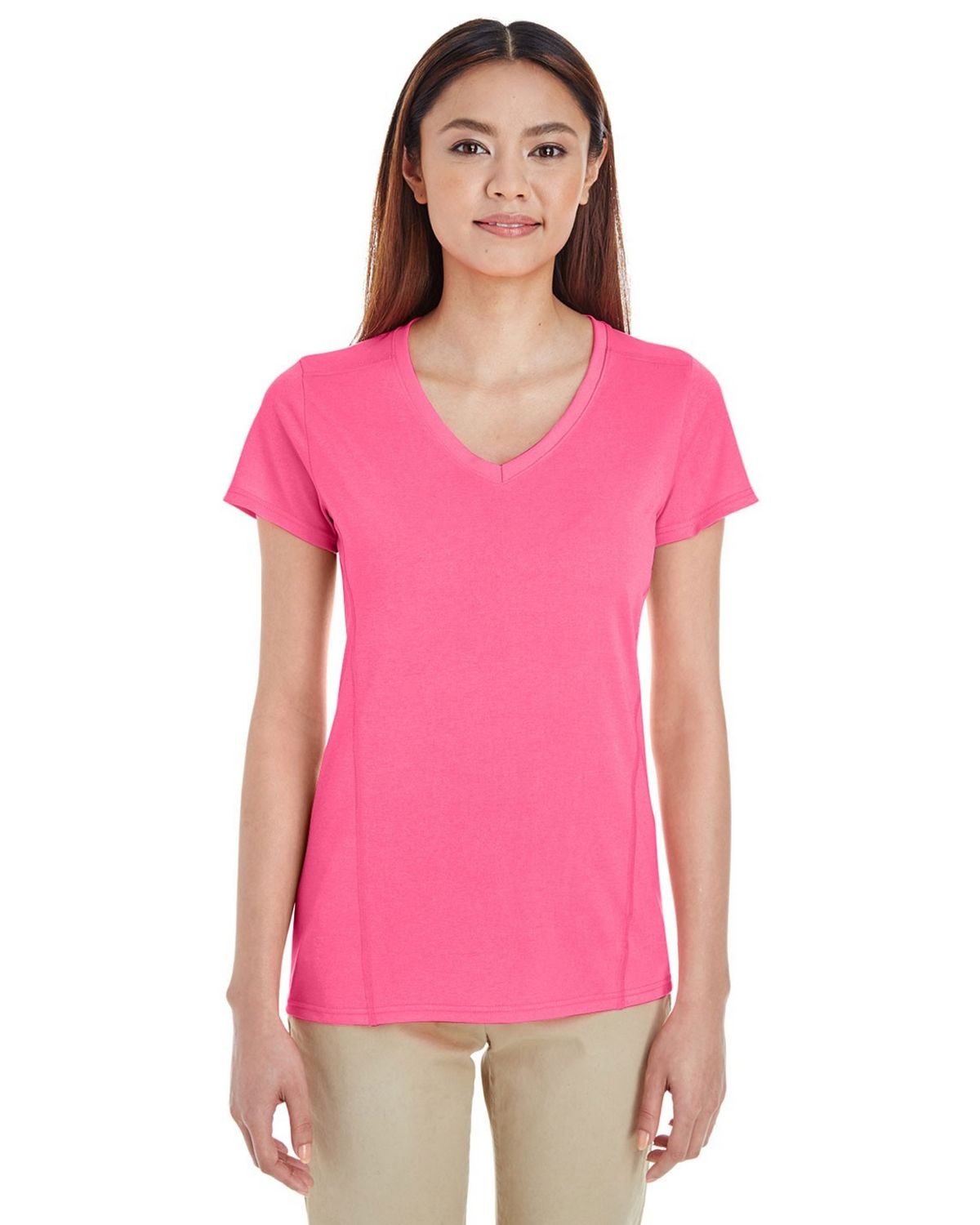 Gildan G47V00L Ladies V-Neck Tech Tee - Safety Pink - 2X G47V00L