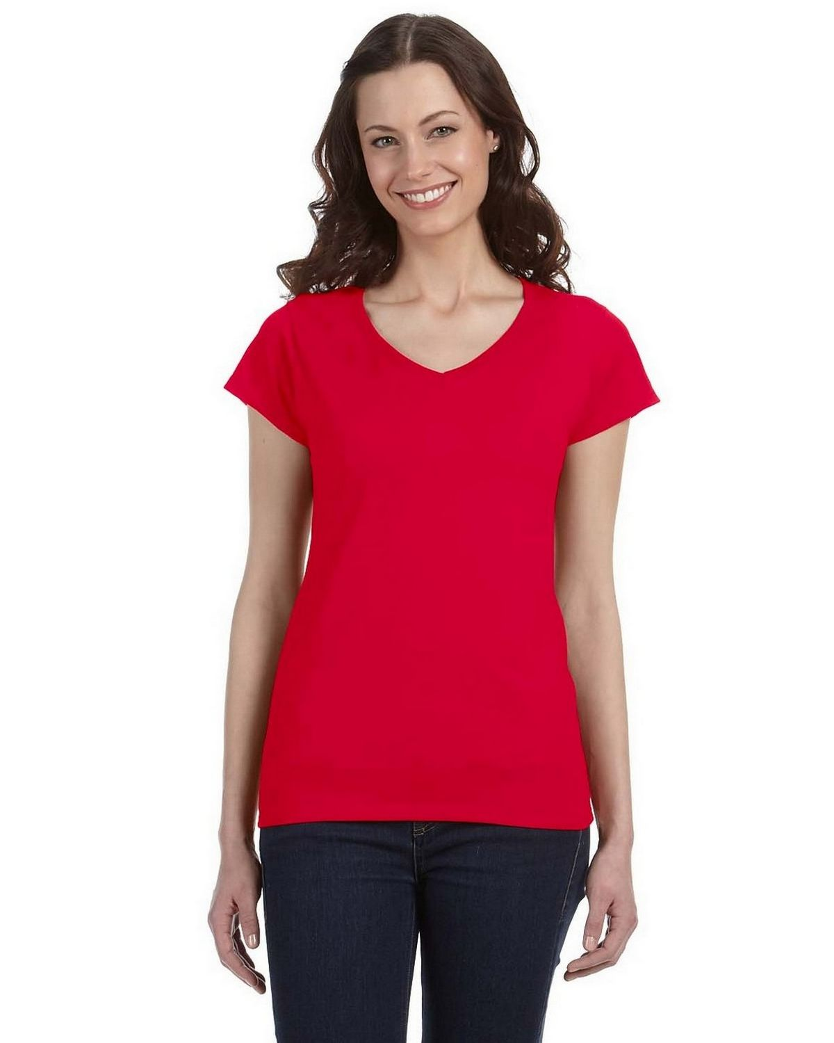Gildan G64VL Ladies SoftStyle Junior Fit T Shirt - Cherry Red - M G64VL