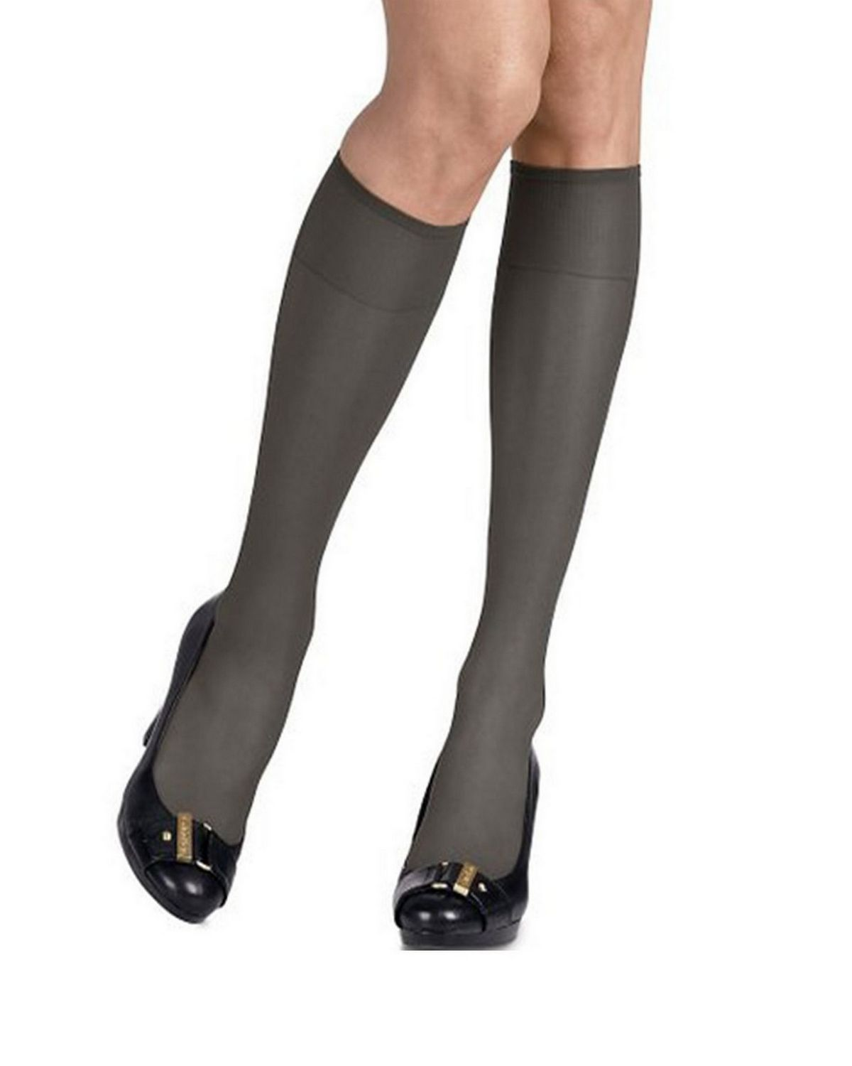 Hanes 725 Women's Silk Reflections Silky Sheer Knee Highs 2-Pack - Jet - One Size #silk