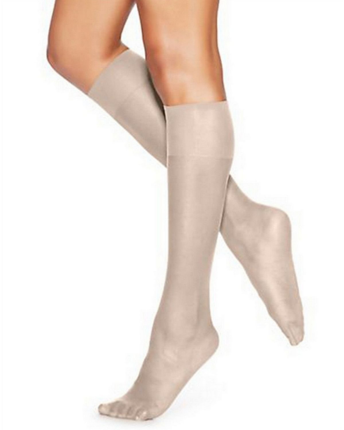 Hanes 725 Women's Silk Reflections Silky Sheer Knee Highs 2-Pack - Pearl - One Size #silk
