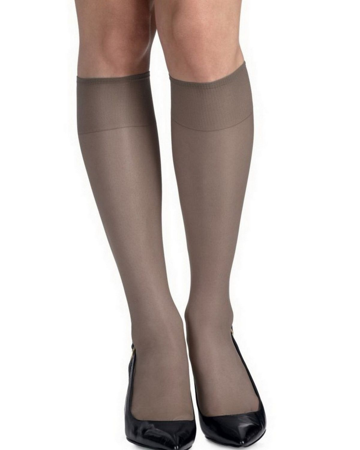 Hanes 775 Women's Silk Reflections Silky Sheer Knee Highs Reinforced Toe 2-Pack - Barely Black - One Size #silk