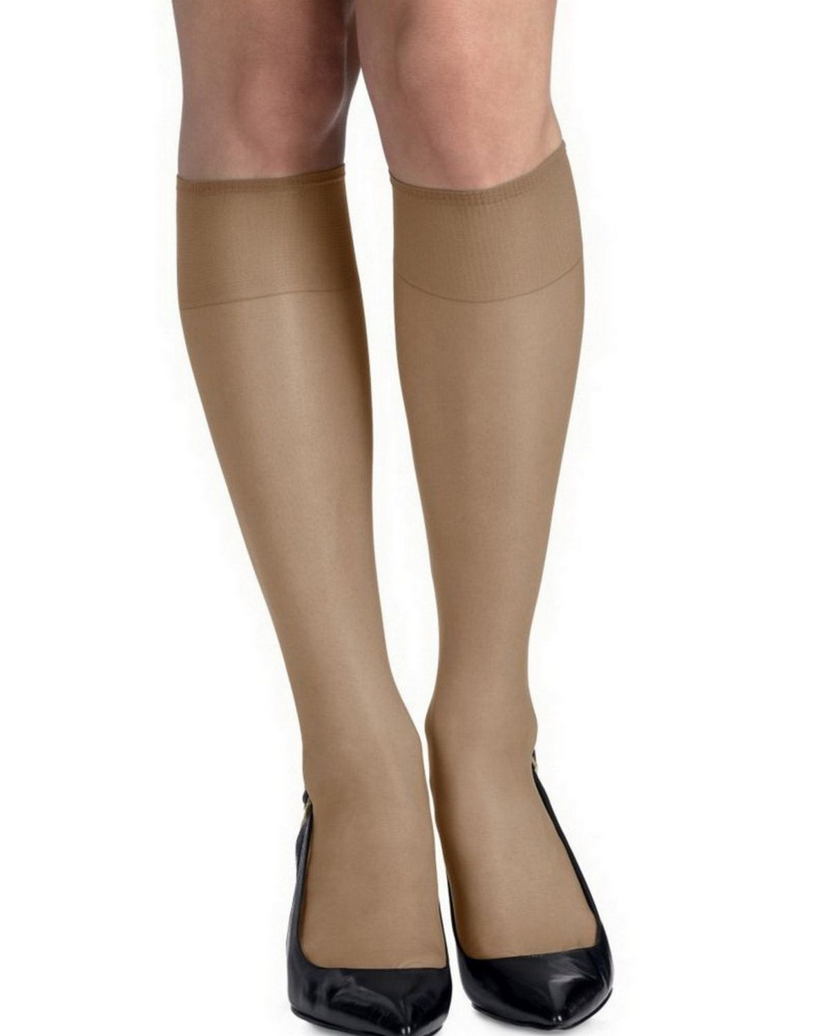 Hanes 775 Women's Silk Reflections Silky Sheer Knee Highs Reinforced Toe 2-Pack - Barely There - One Size #silk