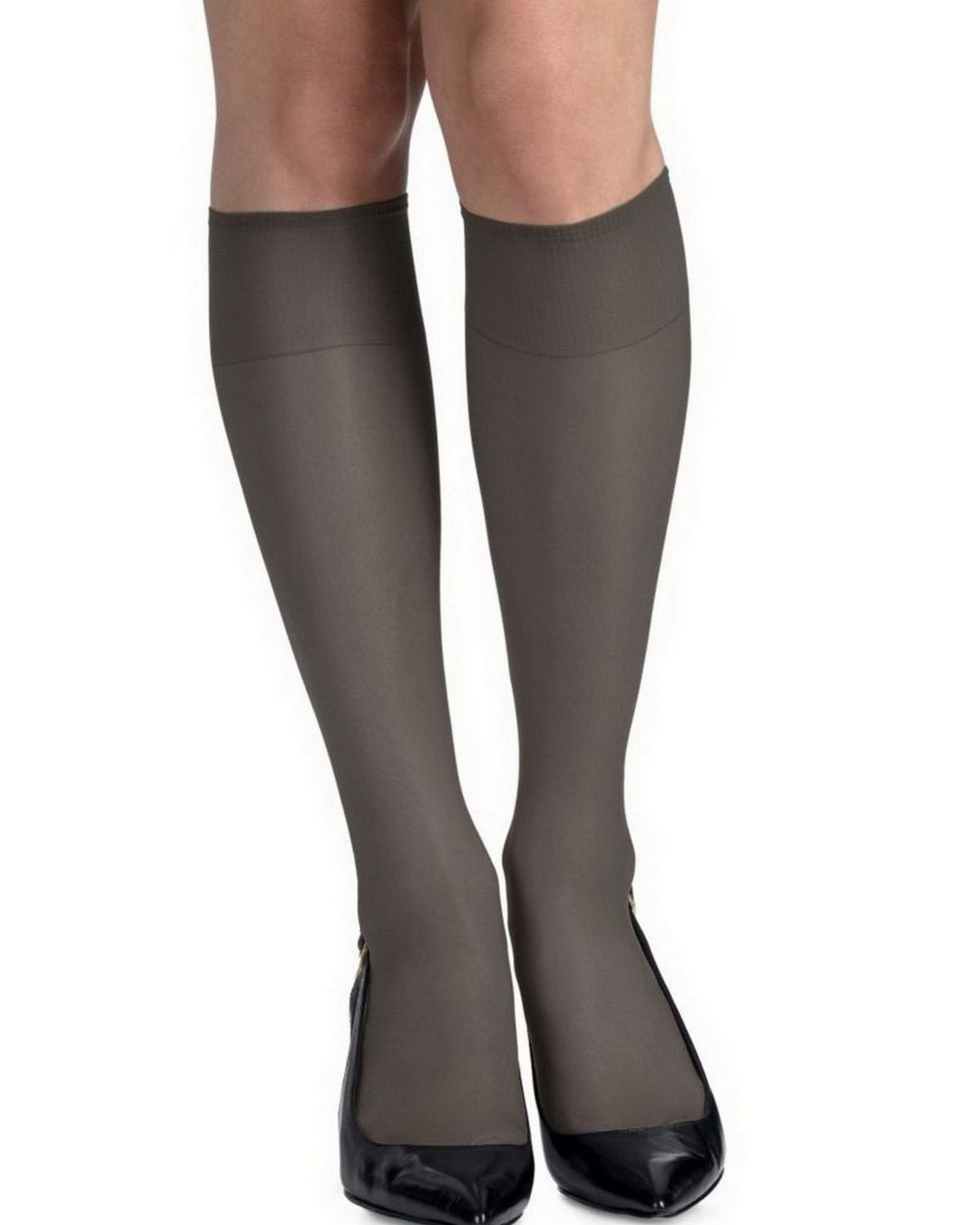 Hanes 775 Women's Silk Reflections Silky Sheer Knee Highs Reinforced Toe 2-Pack - Jet - One Size #silk