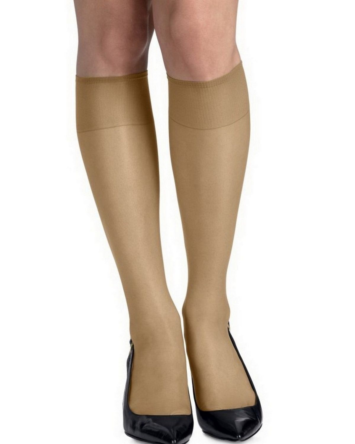 Hanes 00775 Silk Reflections Silky Sheer Knee Highs with Reinforced Toe 2-Pack - Natural - ONESIZE 00775