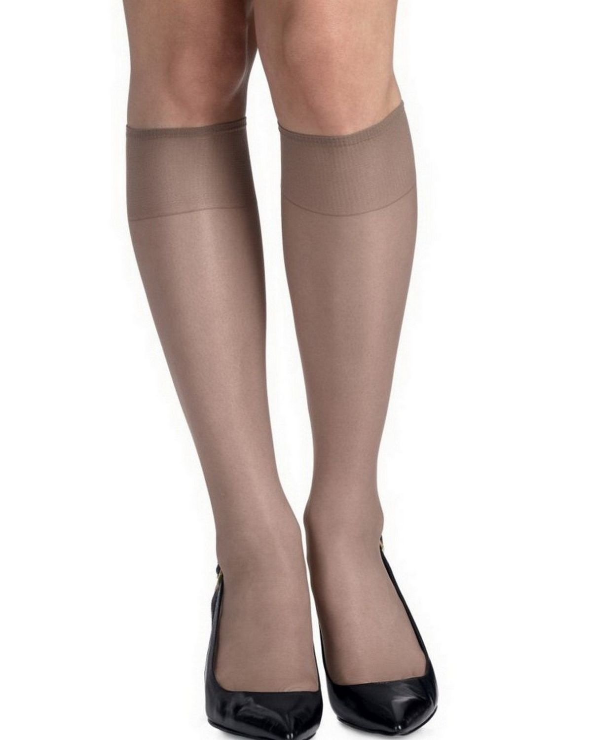 Hanes 775 Women's Silk Reflections Silky Sheer Knee Highs Reinforced Toe 2-Pack - Soft Taupe - One Size #silk