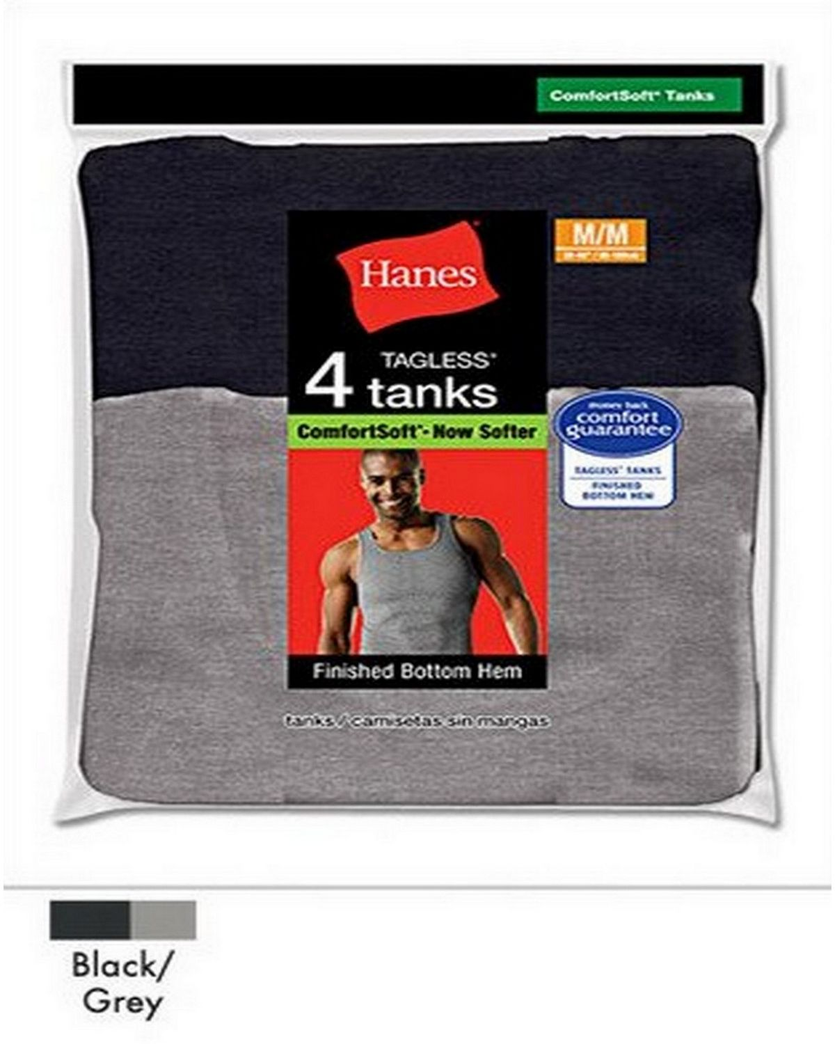 Hanes 392P4 Dyed Tank (Bk/Gry) - Assorted - XL 392P4
