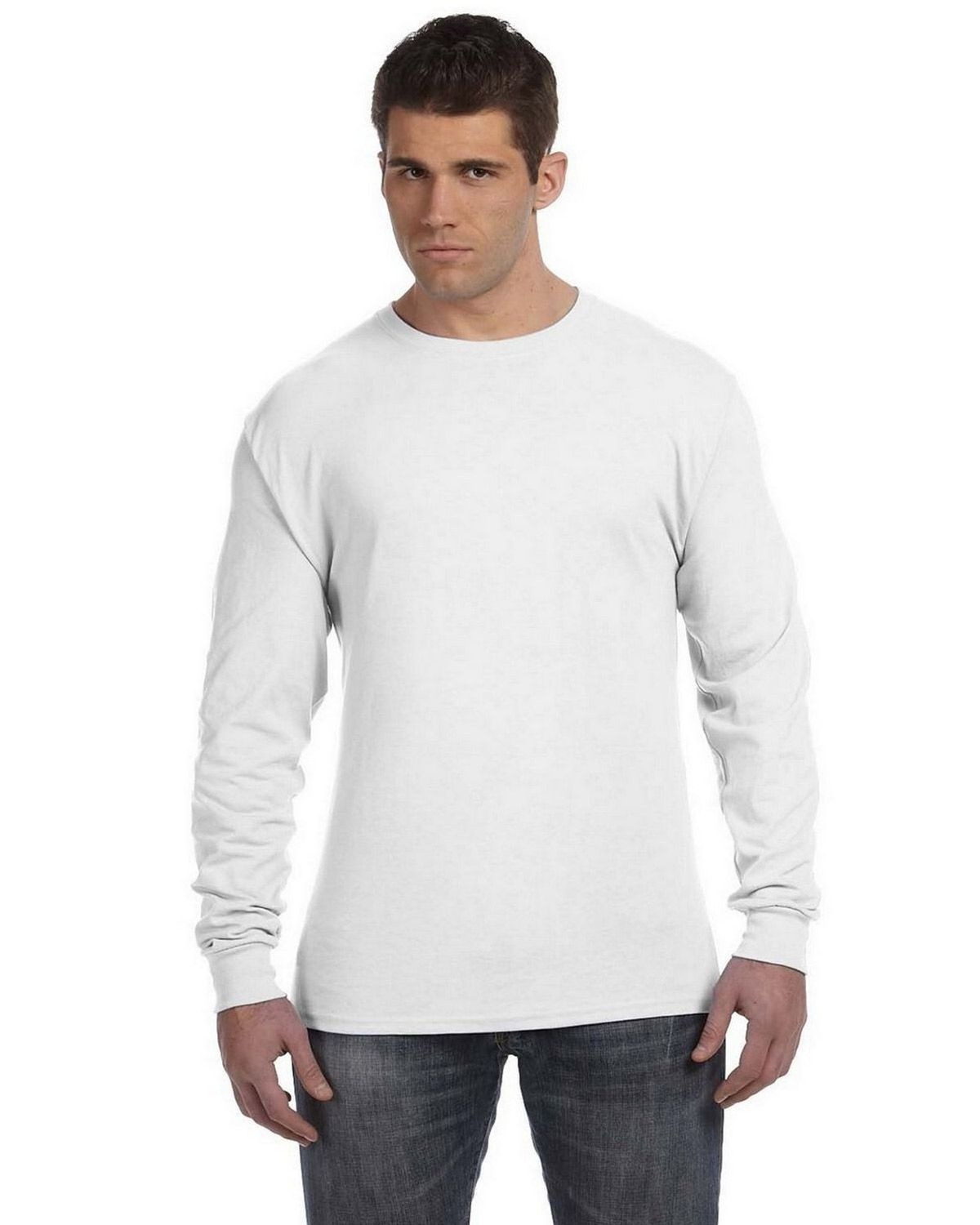 e031ce9bae4 Buy Hanes 498L 100% Ringspun Cotton Nano-T Long Sleeve T Shirt