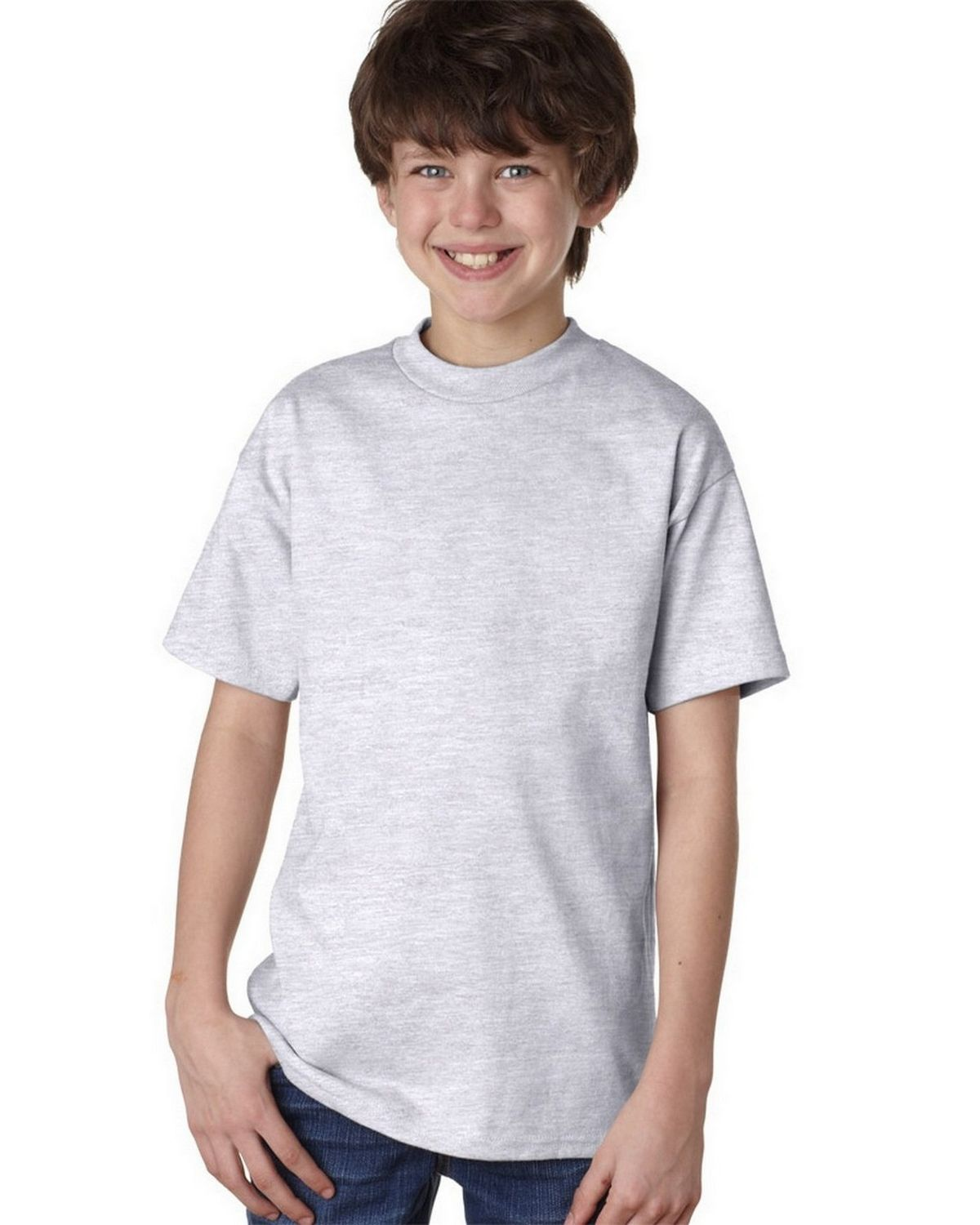 Hanes 5450 100% Youth Cotton Comfort Tee - Ash - S 5450