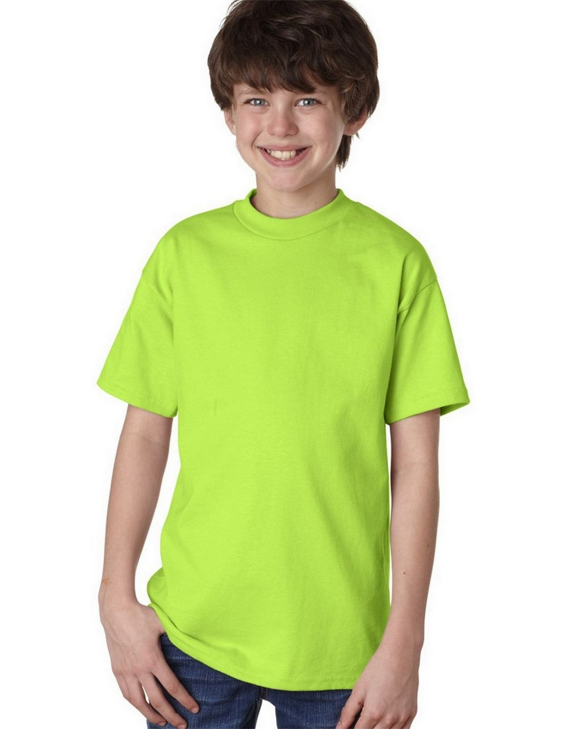 Hanes 5450 100% Youth Cotton Comfort Tee - Lime - L 5450