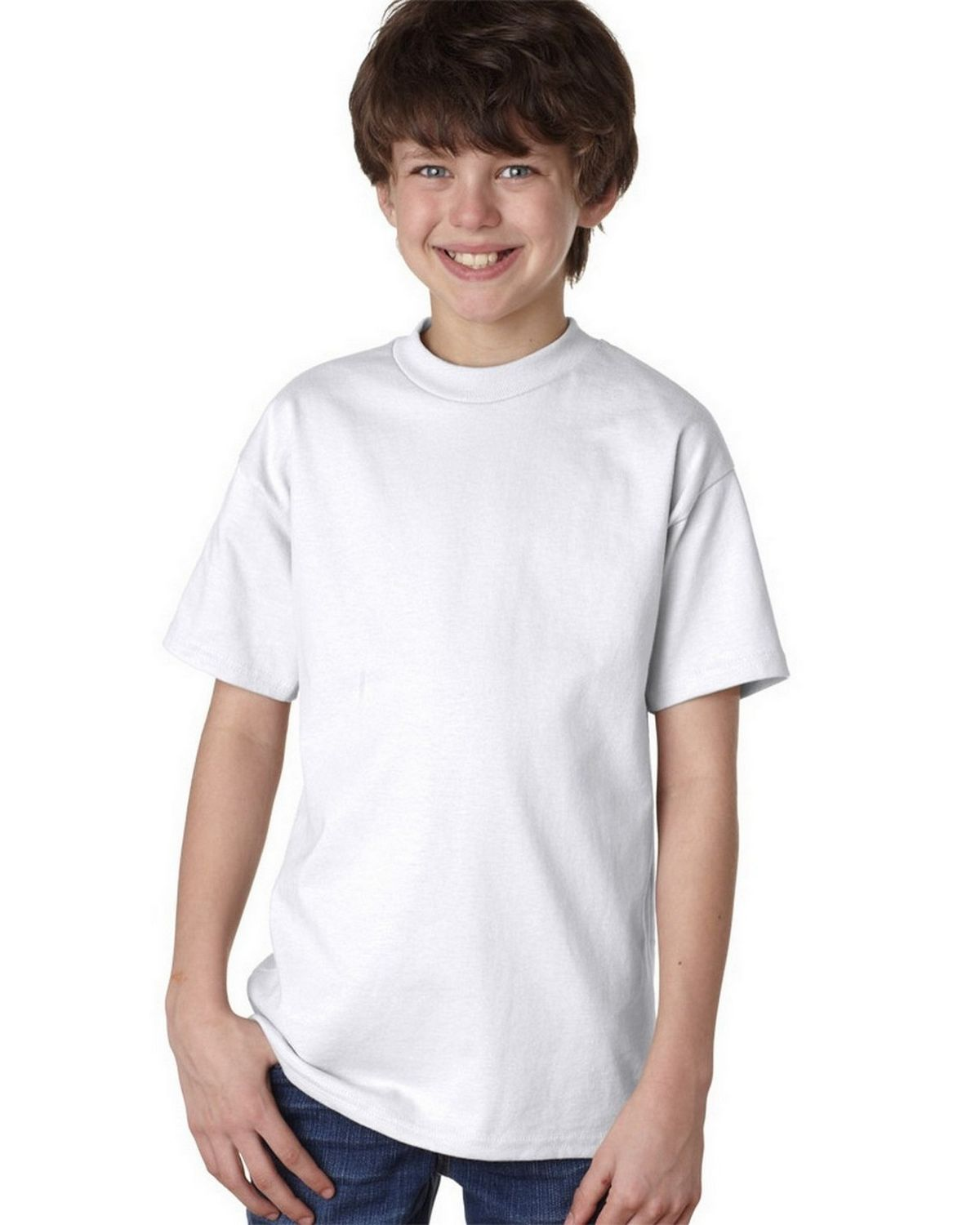 Hanes 5450 100% Youth Cotton Comfort Tee - White - S 5450